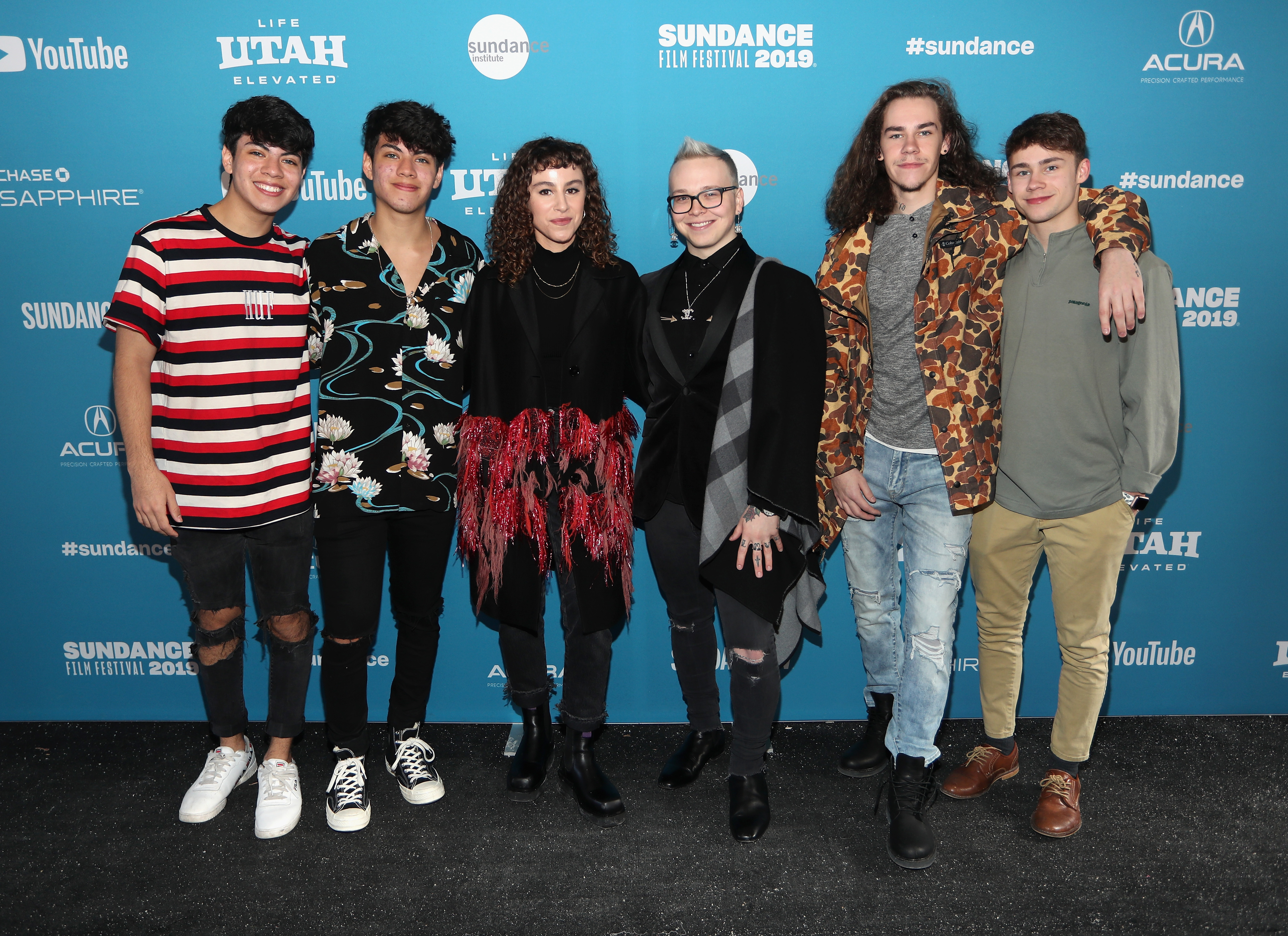 Director Liza Mandelup (third from left) poses with film subjects Jovani Jara, Julian Jara, Michael Weist, Donavan Tester and Austyn Tester at the  Jawline  Premiere during the 2019 Sundance Film Festival at Library Center Theater on January 28, 2019 in Park City, Utah.