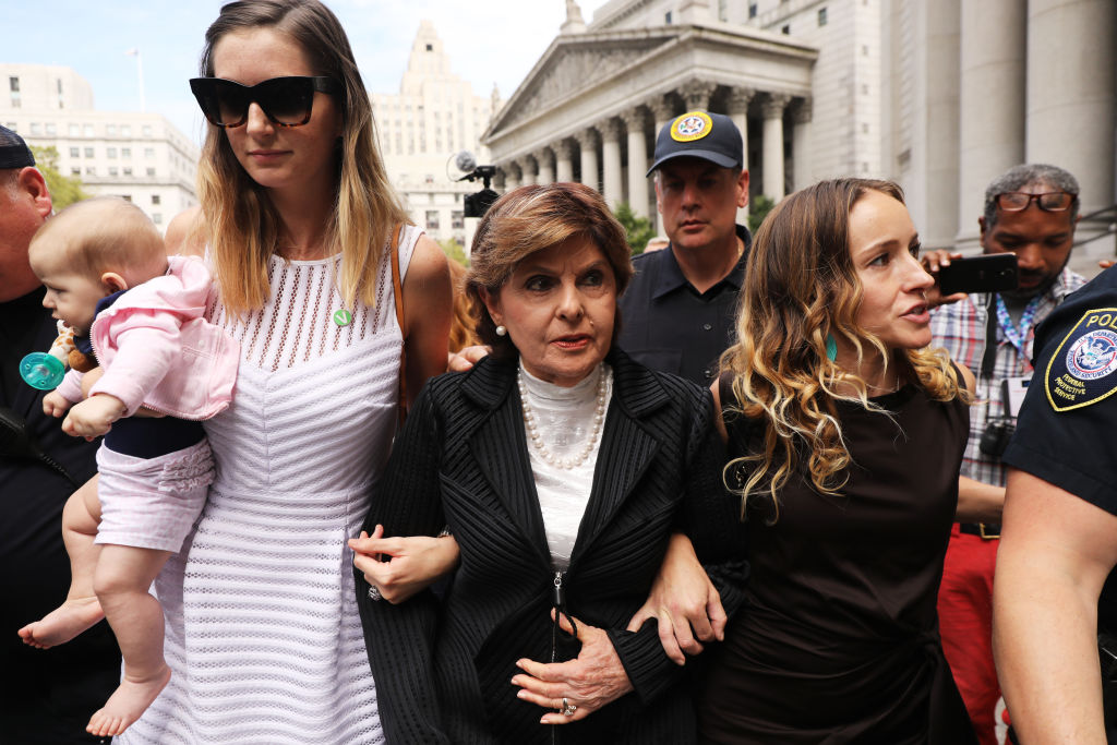 Attorney Gloria Allred (center) leaves a New York court house with two women, a woman who did not wish to be identified (left) and Teala Davies(right), who have publicly accused Jeffrey Epstein of sexually assaulting them on August 27, 2019 in New York City.