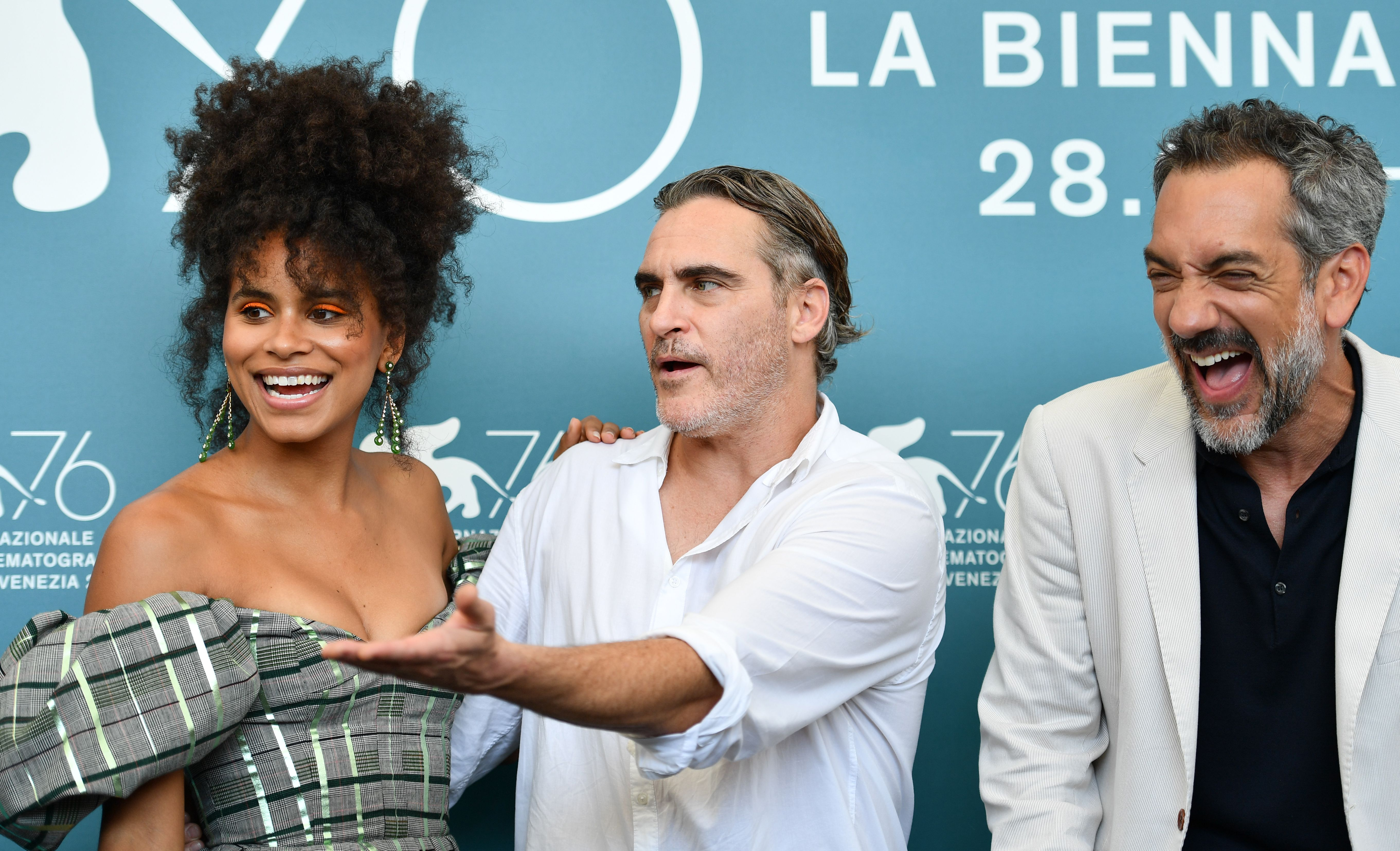 Zazie Beetz, Joaquin Phoenix and director Todd Phillips attend a photocall for the film  Joker  on August 31, 2019 during the 76th Venice Film Festival.