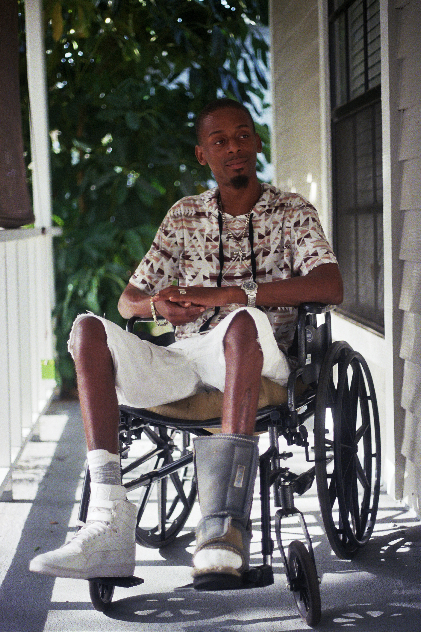 Florida shooting survivor Keinon Carter at his home in June 2017.
