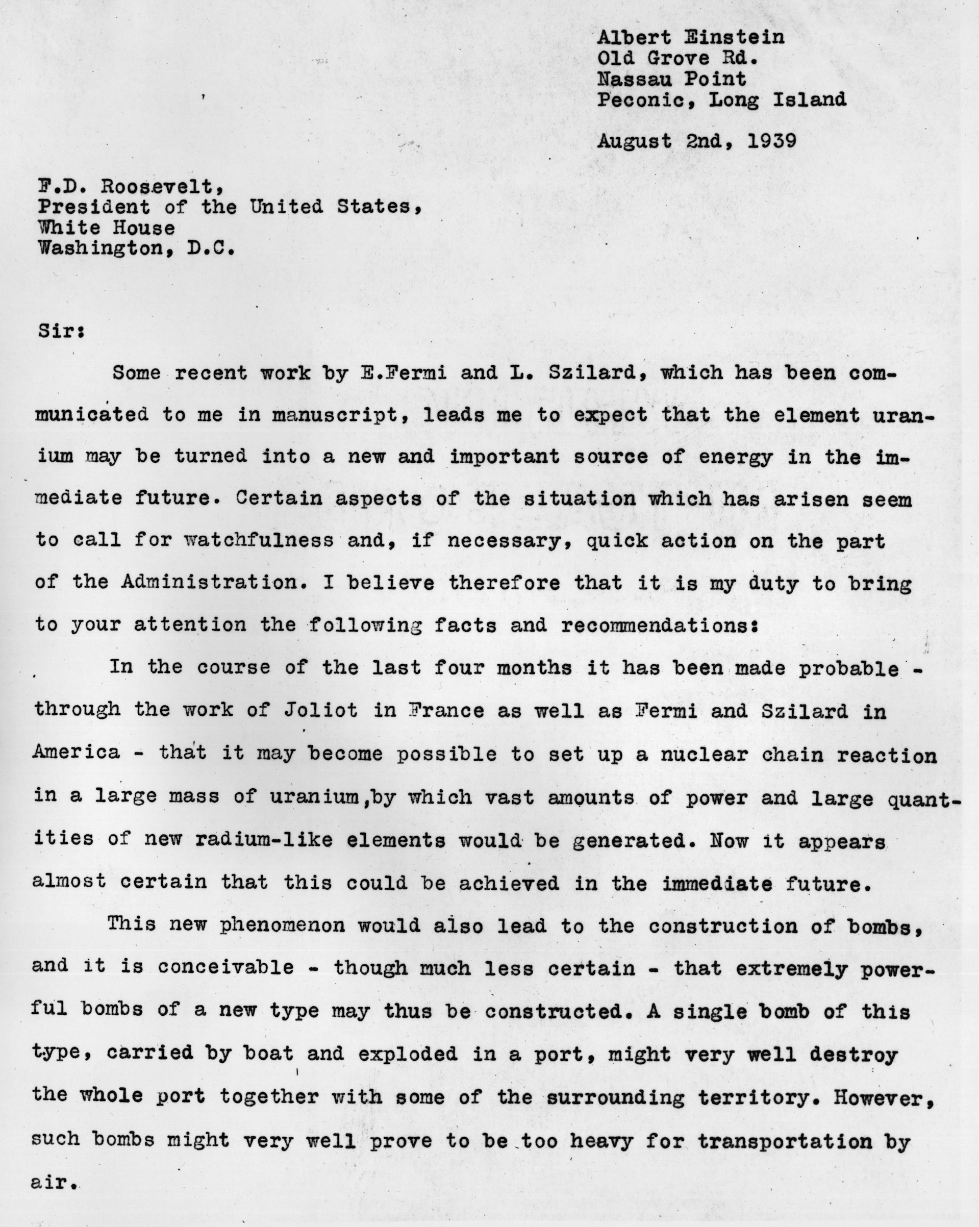 Aug. 2, 1939: The first page of a letter from the physicist Albert Einstein to President Franklin Delano Roosevelt raising the possibility that Germany could build an atomic bomb.