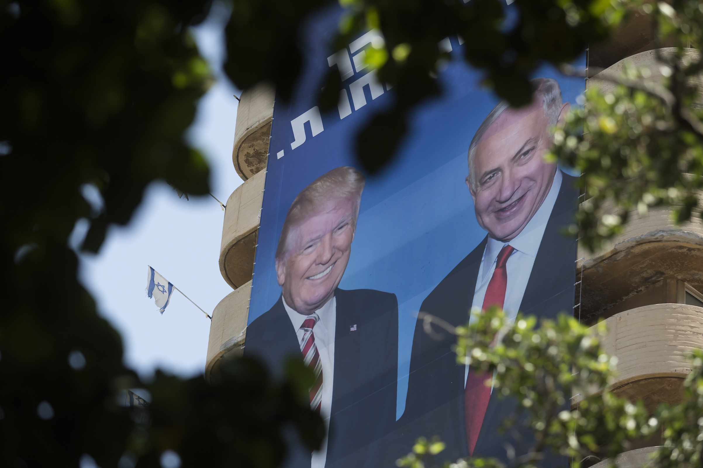 A Likud Party billboard shows Israeli Prime Minister Benjamin Netanyahu with U.S. President Donald Trump on Aug. 5, 2019 in Tel Aviv, shortly before elections there.