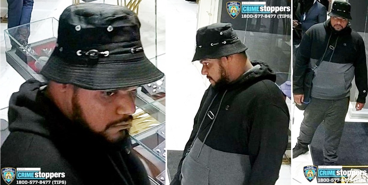 One of three men involved in a robbery of a New York City jewelry store on Sunday