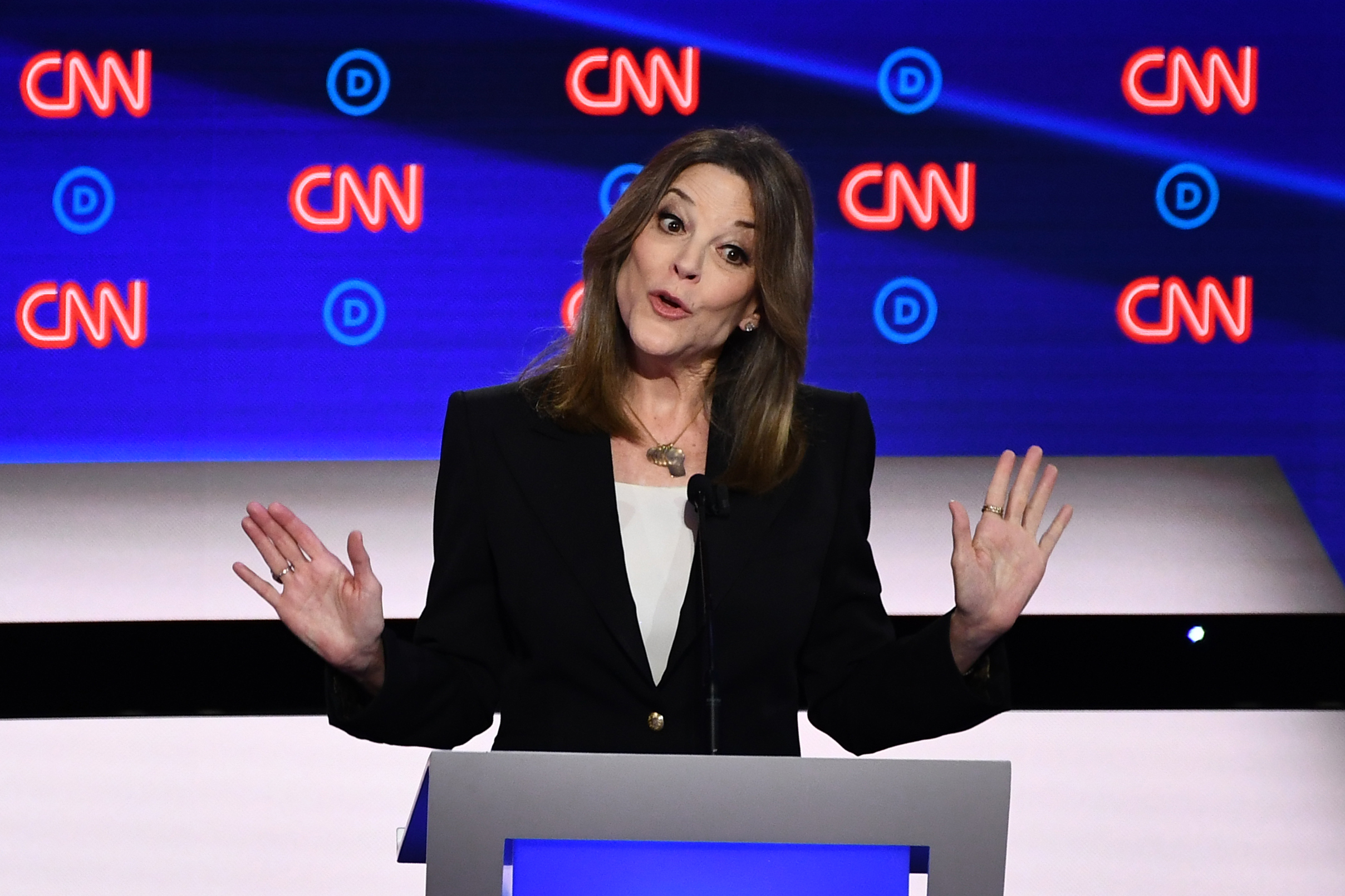Democratic presidential hopeful US author and writer Marianne Williamson speaks during the first round of the second Democratic primary debate of the 2020 presidential campaign season at the Fox Theatre in Detroit, Michigan on July 30, 2019.