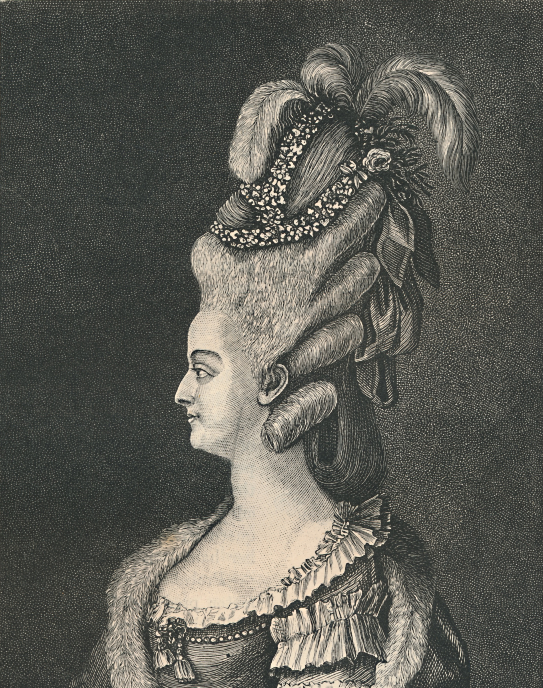 19th century illustration of Marie Antoinette (1755-1793) with elaborate hairstyle.