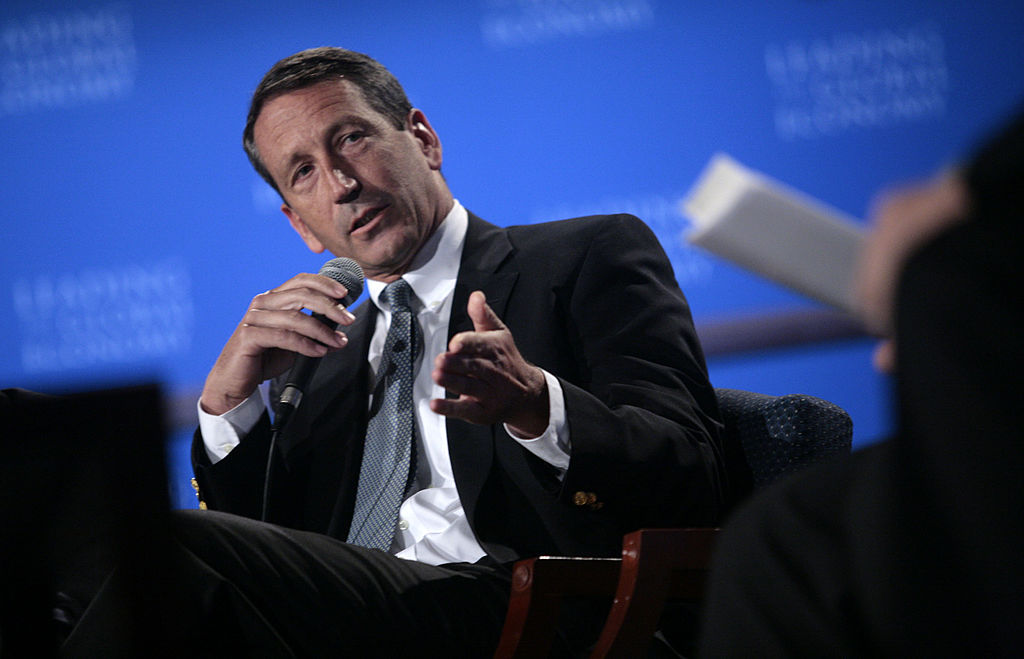 South Carolina Governor Mark Sanford participates in a panel discussion on international investment moderated by Treasury Secretary Henry Paulson at George Washington University in Washington, D.C., May 10, 2007.
