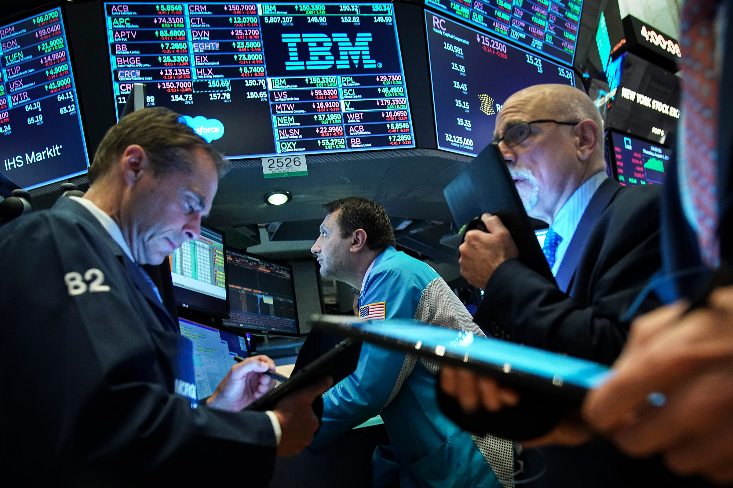 Traders and financial professionals work ahead of the closing bell on the floor of the New York Stock Exchange on Aug. 1, 2019 in New York City. Following large gains earlier in the day, U.S. markets dropped sharply after an afternoon tweet by U.S. President Donald Trump announcing his plans to impose a 10 percent tariff on an additional $300 billion worth of Chinese imports.