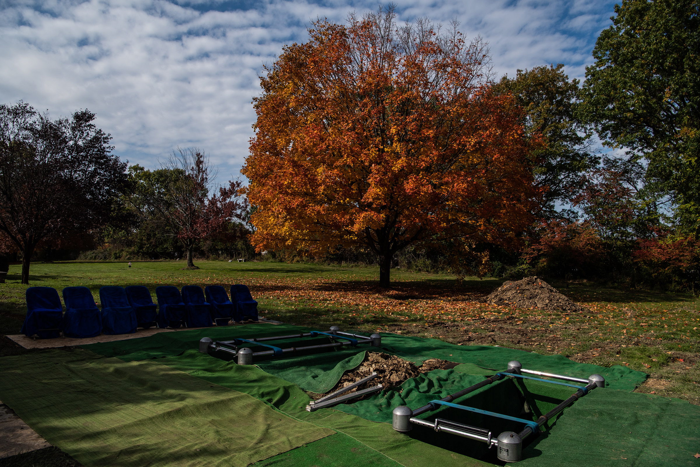 Two graves that were dug for of brothers David Rosenthal and Cecil Rosenthal who were killed at the mass shooting at the Tree of Life Synagogue are seen at the Tree of Life Memorial Park cemetery on Tuesday, Oct. 30, 2018, in Pittsburgh.