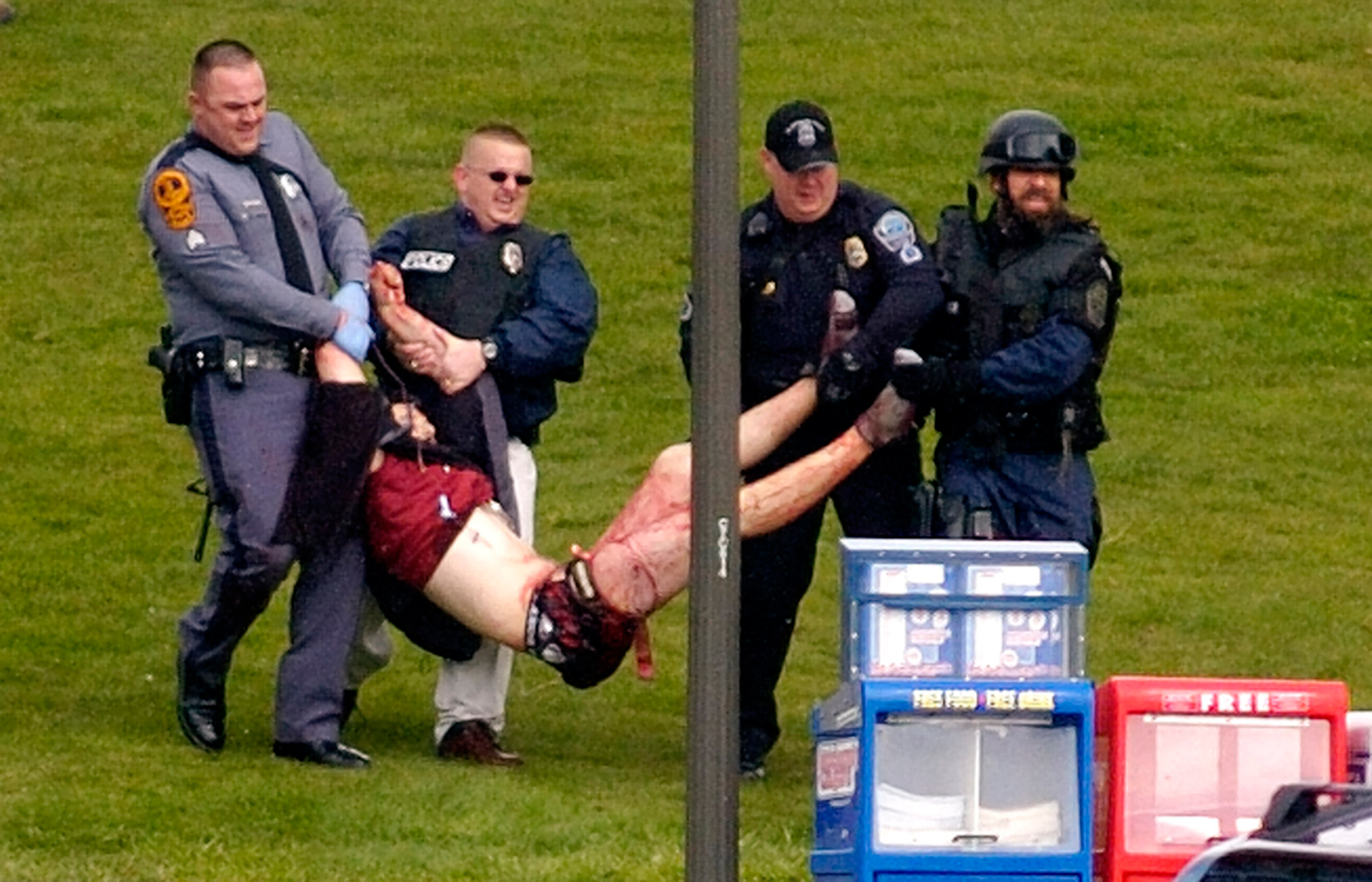 Student Kevin Sterne, is carried out of Norris Hall at Virginia Tech in Blacksburg, Va. in this April 16, 2007 photo. Sterne was one of the wounded students who survived the mass shooting on April 16.