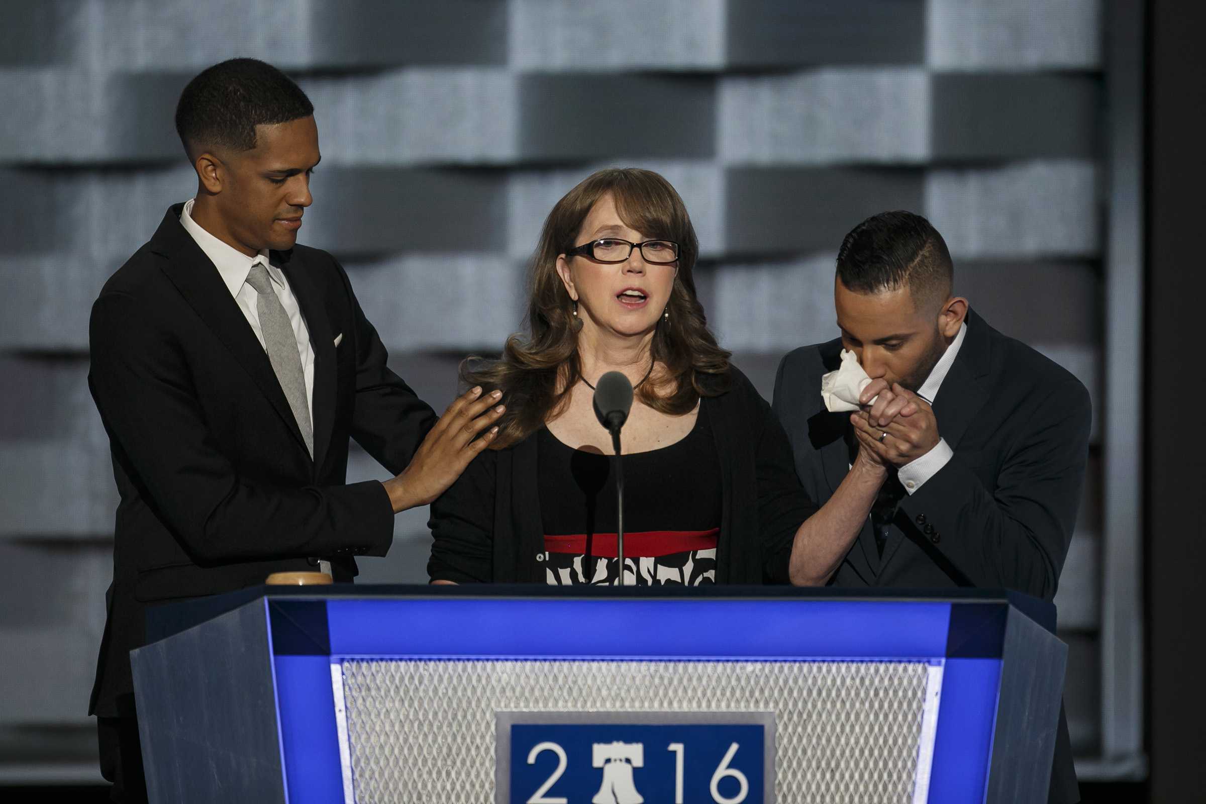 Brandon Wolf, from left, Christine Leinonen and Jose Arraigada speak about gun control at the 2016 Democratic National Convention, in Philadelphia on July 27, 2016.