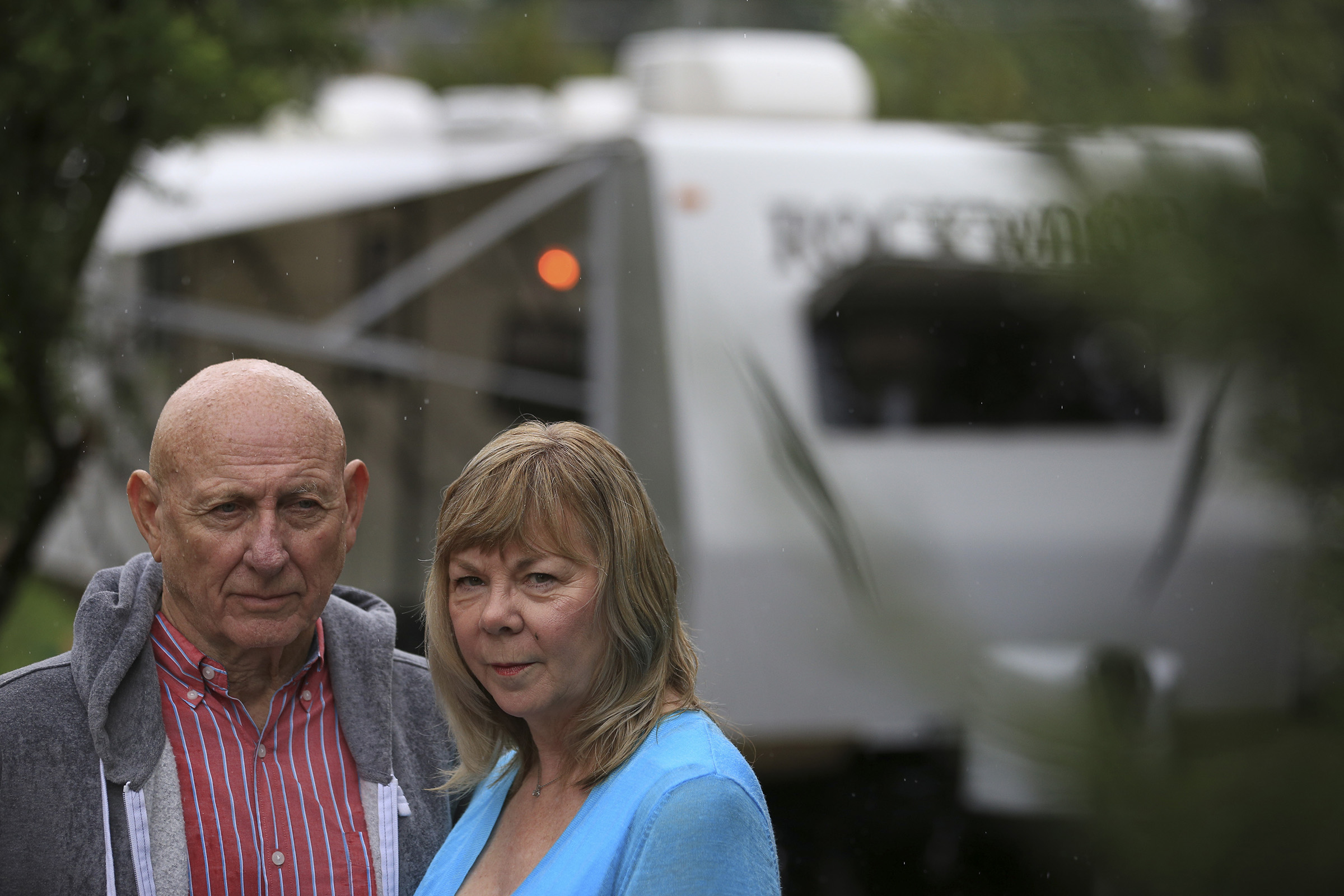Lonnie, left, and Sandy Phillips drove to Colorado to spend the summer at the courthouse where James Holmes stood trial. He was accused of fatally shooting Phillips's daughter, Jessica Ghawi, and 11 others in Aurora, Colorado in 2015.