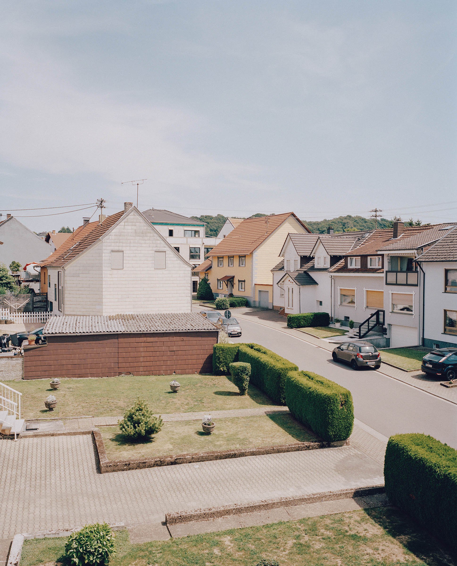 The view from the living room window of Walid Khalil Murad's house, overlooking a street in Theley village in Saarland, southern Germany on July 25, 2019.