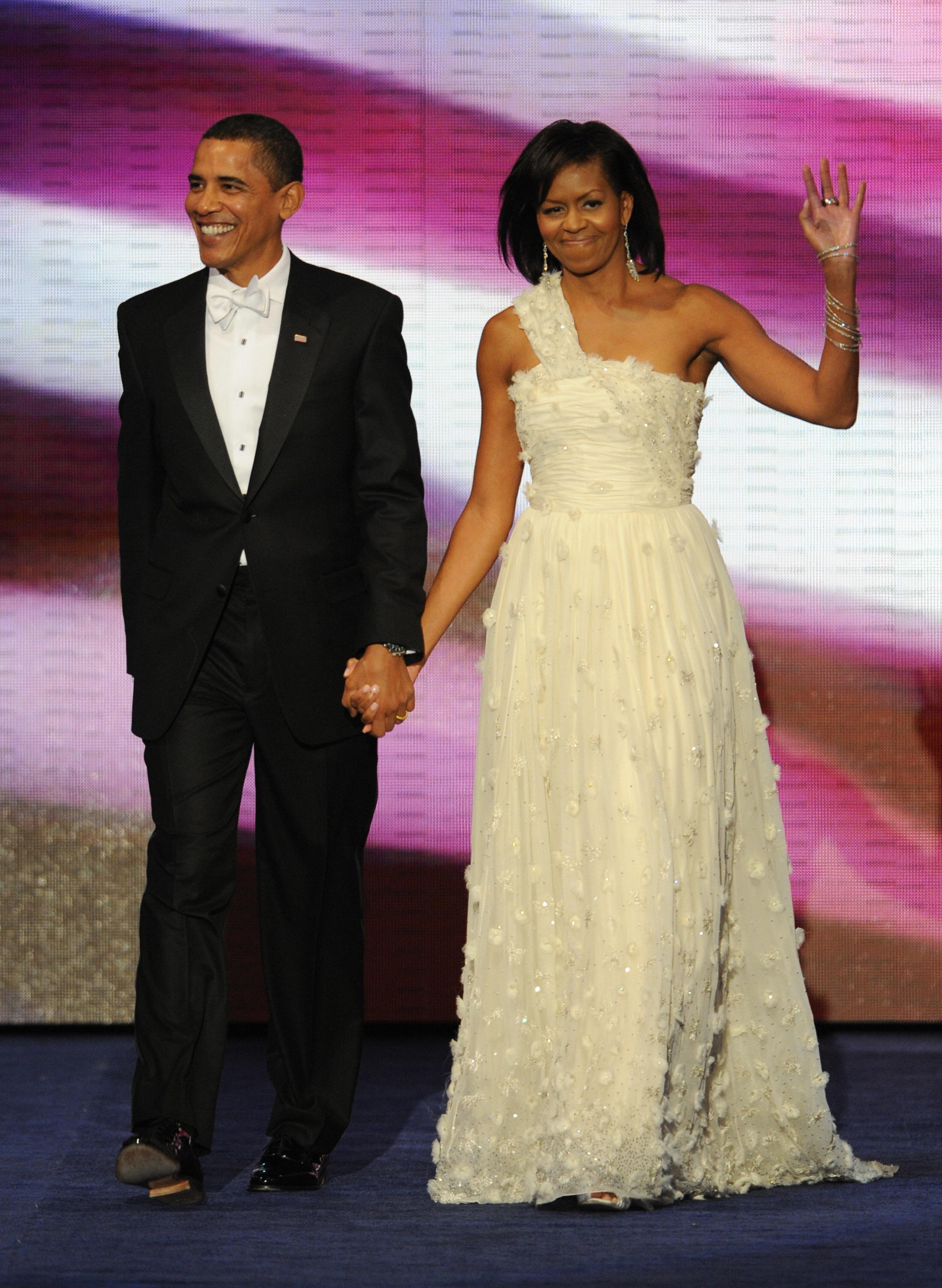 President Barack Obama and Michelle Obama arrive at the Neighborhood Ball January 20, 2009 in Washington, D.C.