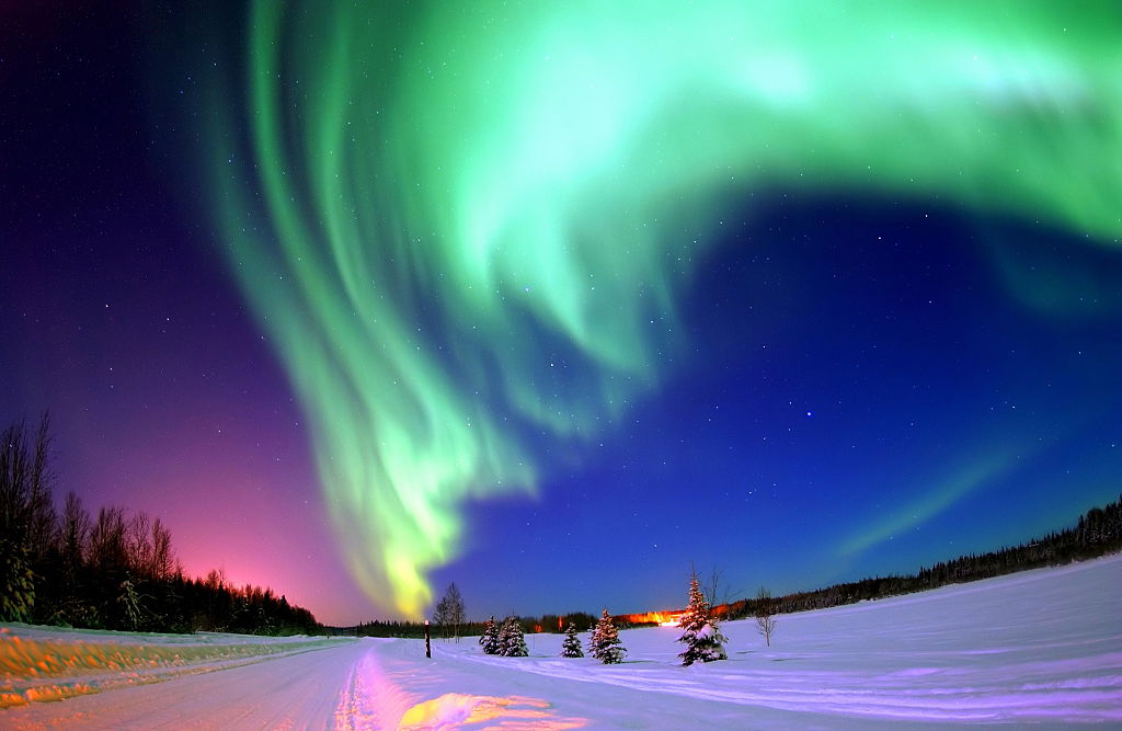 Photograph of the Northern Lights, also known as the aurora.