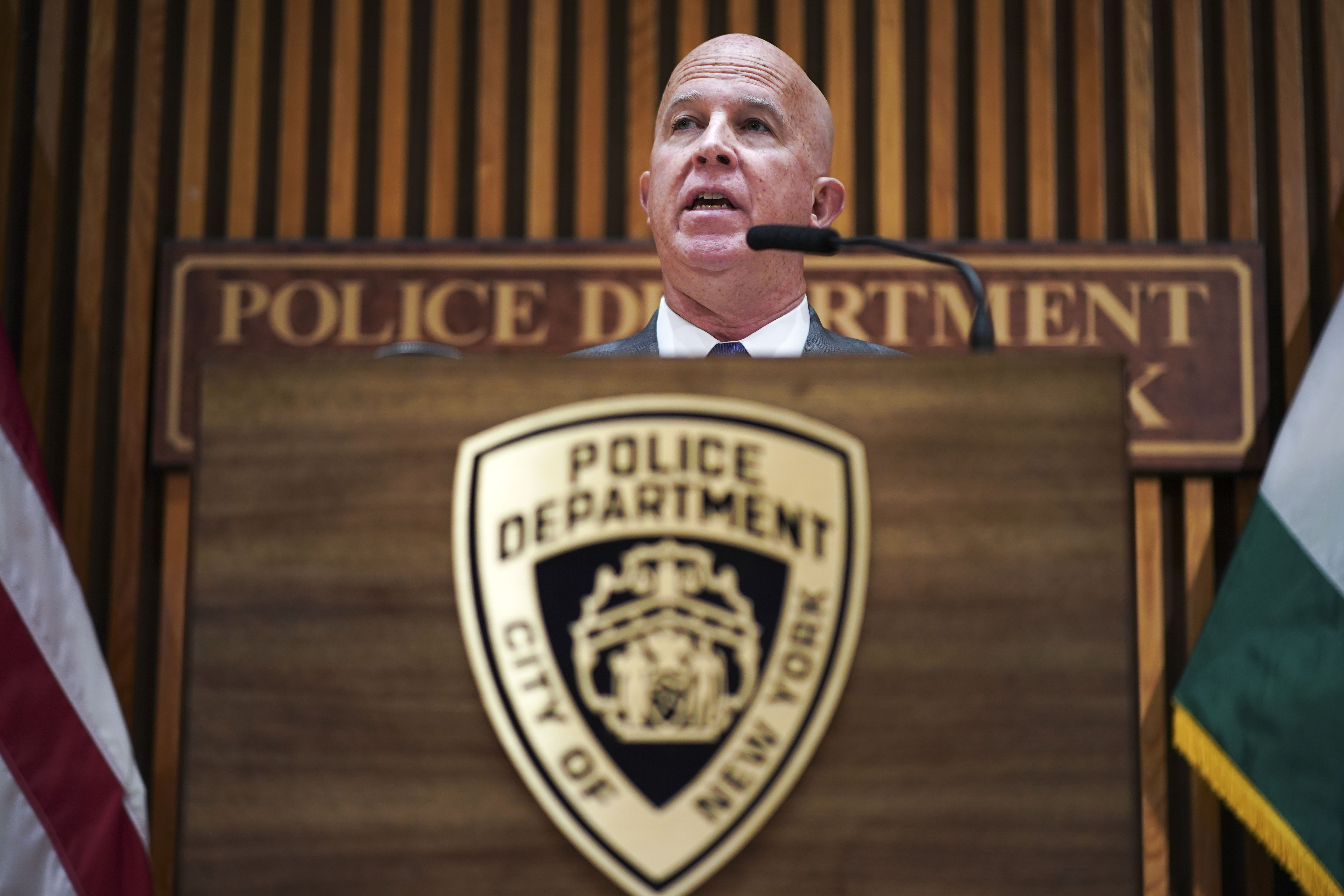 New York City Police Commissioner James O'Neill speaks during a press conference to announce the termination of officer Daniel Pantaleo on August 19, 2019 in New York City.