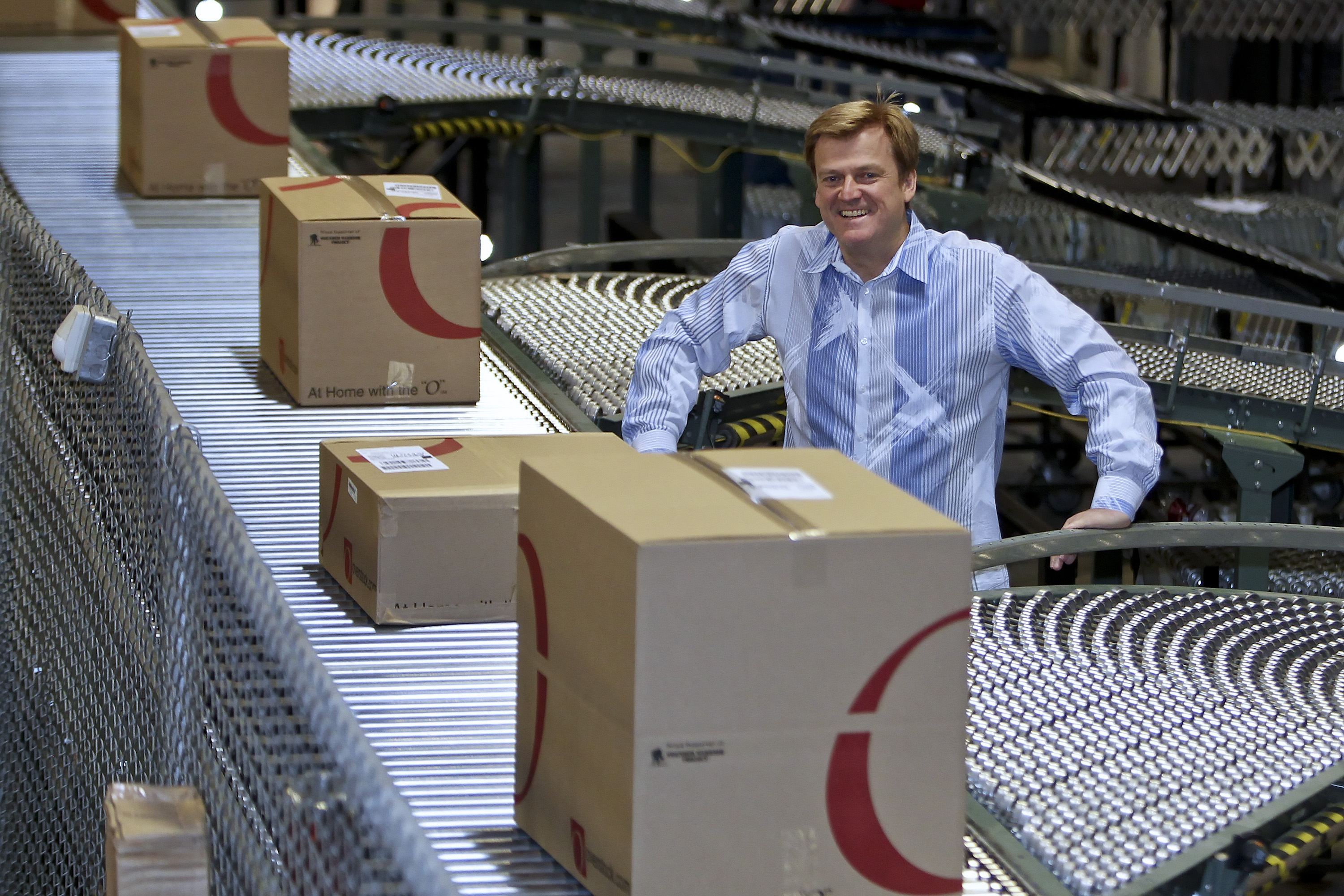 Overstock CEO Patrick Byrne resigned this week after posting a memo about a  deep state  conspiracy and also claimed he had a romantic relationship with an accused Russian spy. He is pictured at an Overstock warehouse in Salt Lake City, Utah in April 2010.