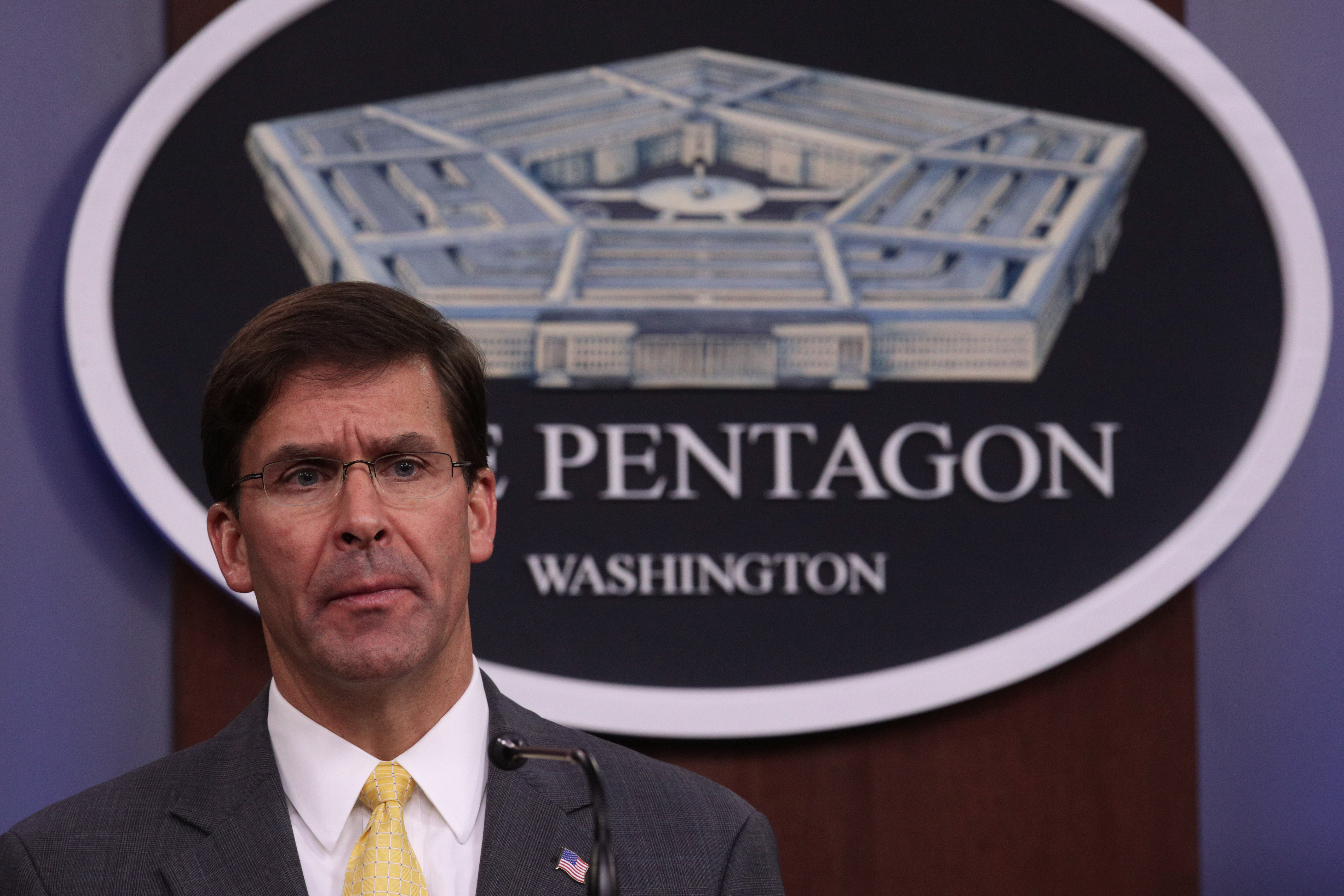 U.S. Secretary of Defense Mark Esper holds a media briefing at the Pentagon August 28, 2019 in Arlington, Virginia.