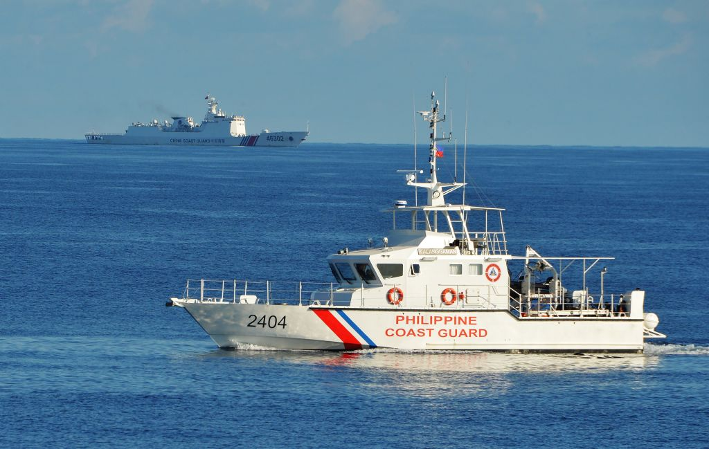 A Philippine coast guard ship near Scarborough Shoal in the South China Sea is seen on May 14, 2019.