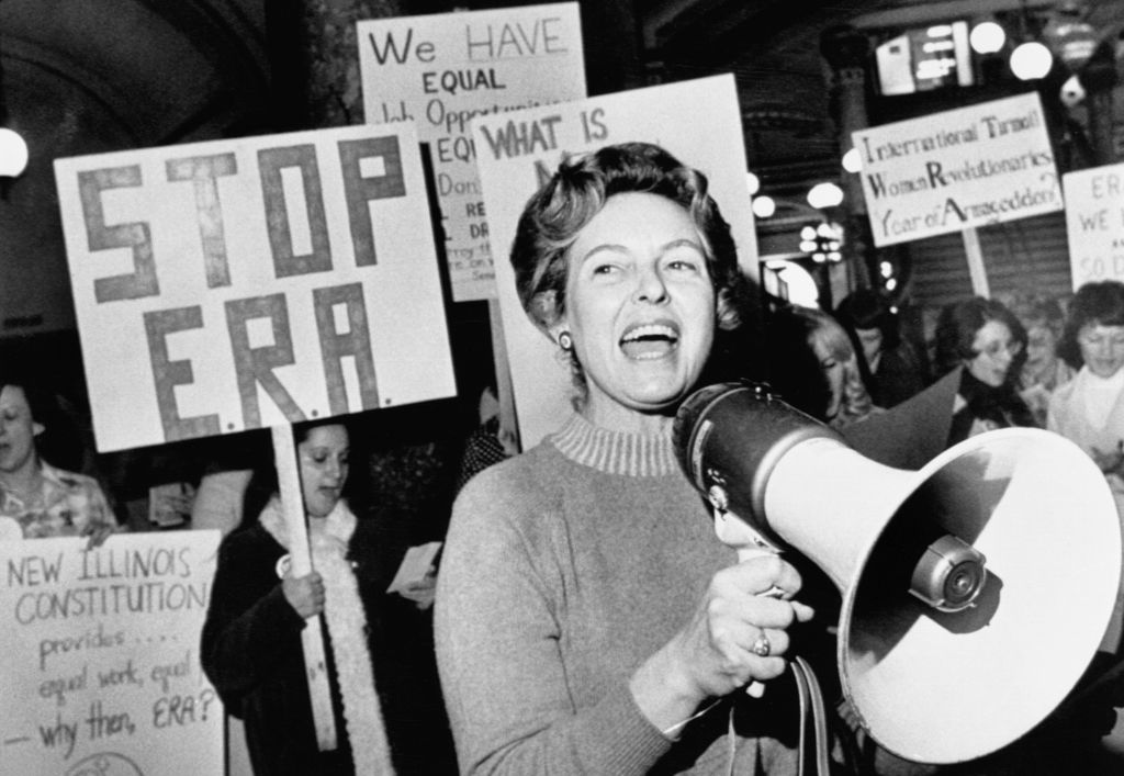 Stop ERA national Chairman Phyllis Schafly leads members opposed to the equal rights amendment in a song about the pro ERA forces plan for a national demonstration in the capital city.