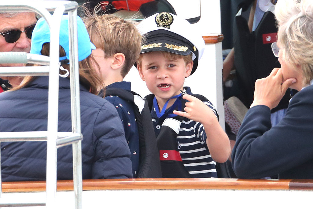 Prince George watches the inaugural King's Cup regatta hosted by the Duke and Duchess of Cambridge on August 08, 2019 in Cowes, England.