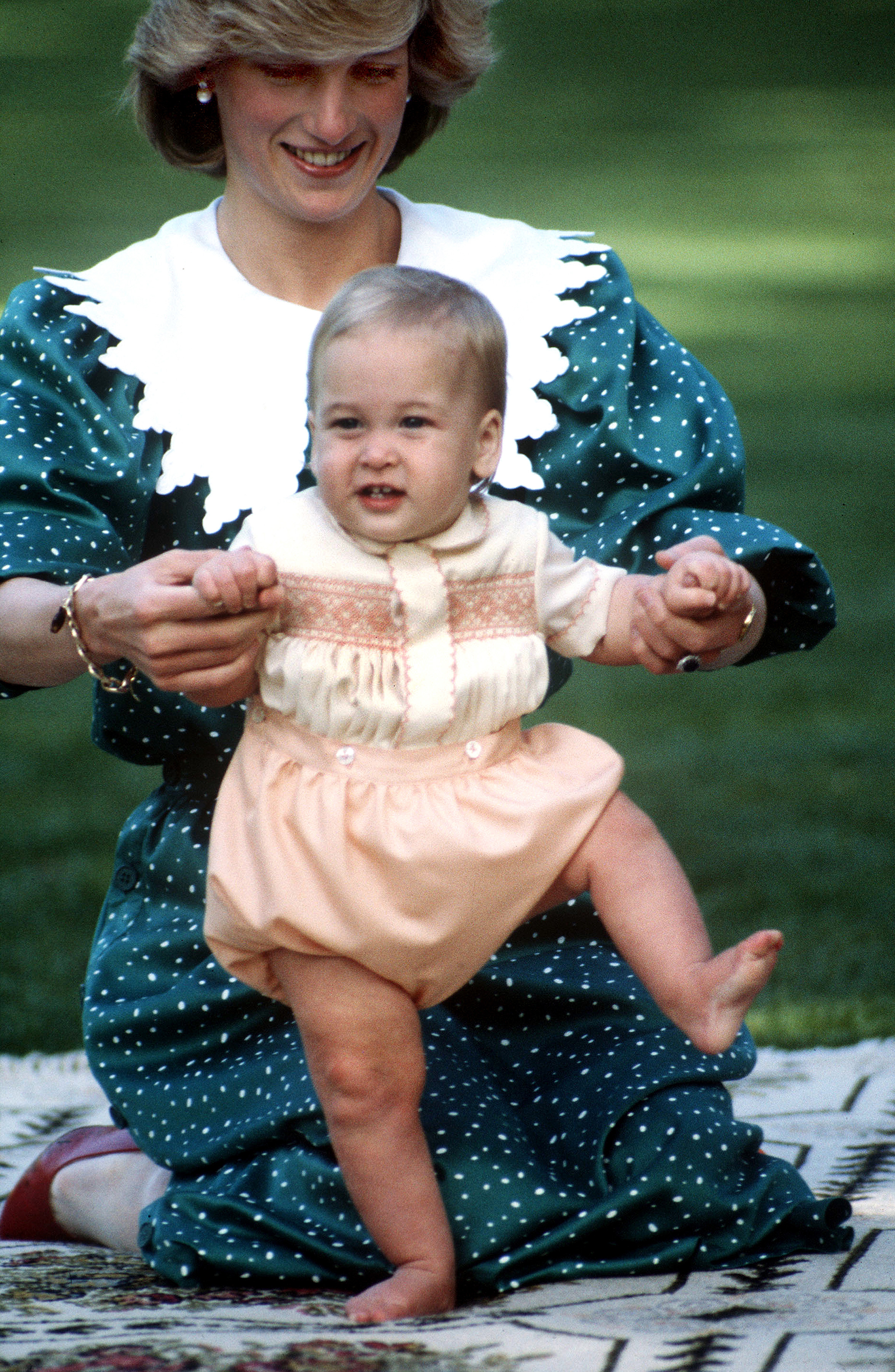 Princess Diana pictured in the grounds of Government House in Auckland, New Zealand a young, and agile, Prince William on April 23, 1983.