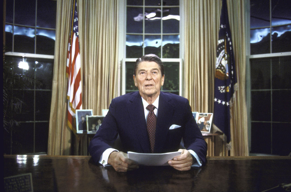 U.S. President Ronald Reagan in the Oval Office.