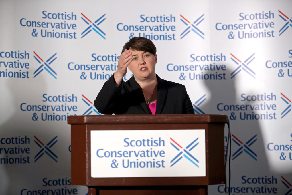 Ruth Davidson during a press conference in Edinburgh, following her announcement that she has resigned as leader of the Scottish Conservatives, on August 29, 2019