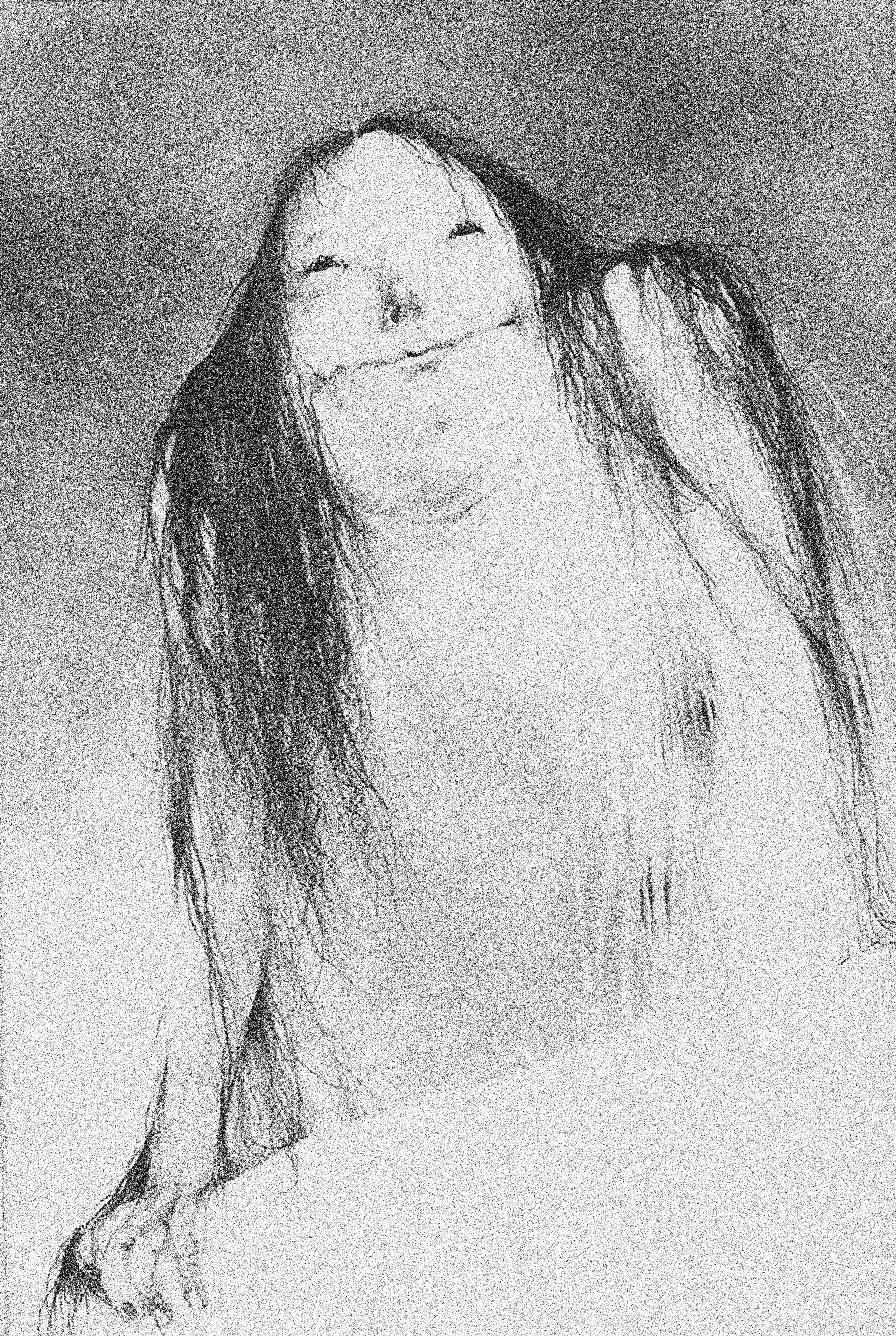 Stephen Gammell's illustration of  The Pale Lady  from the book series  Scary Stories to Tell In The Dark,  written by Alvin Schwartz