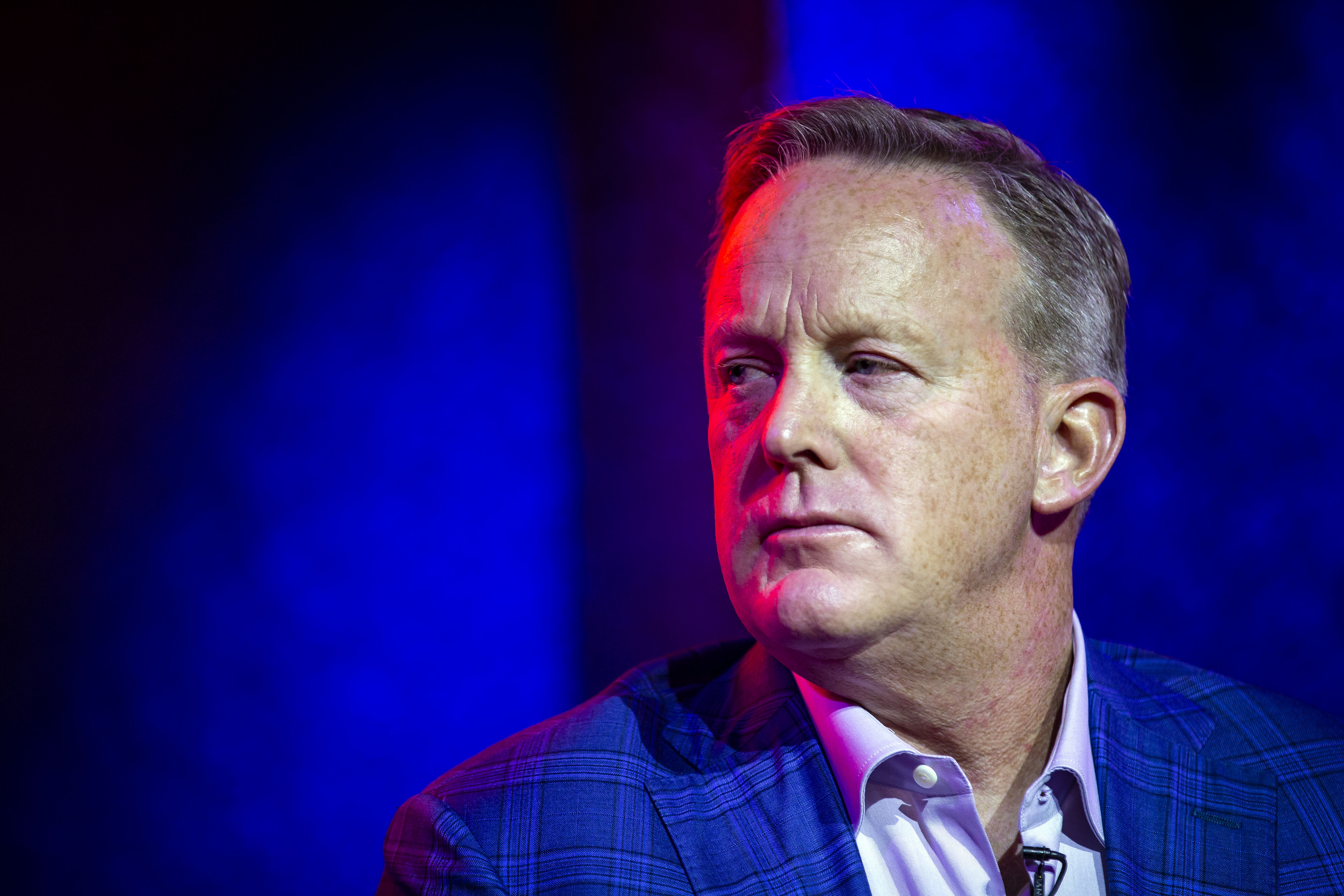 Former White House Press Secretary Sean Spicer speaks about his new book  The Briefing: Politics, The Press, and The President,  at a book launch party, at Pearl Street Warehouse, on July 24, 2018 in Washington, DC.