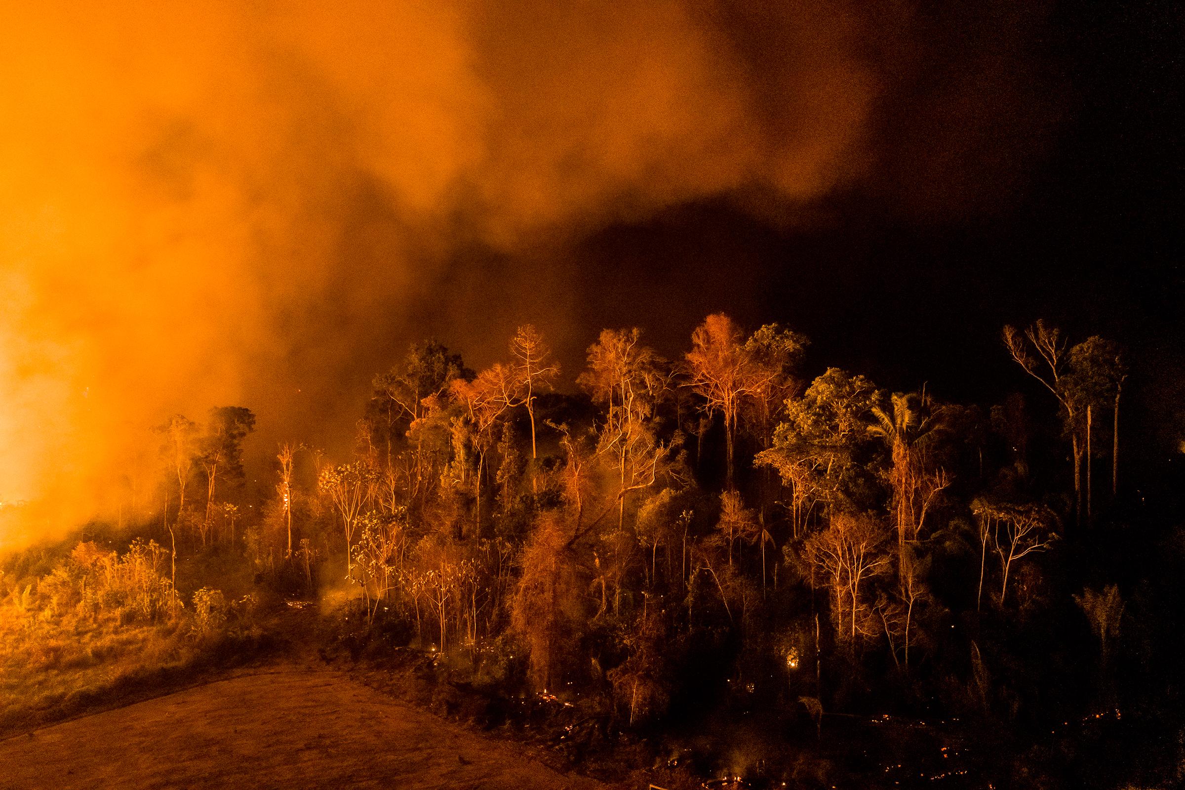 A blaze in the region of Vila Nova Samuel lights up the night sky on Aug. 27.