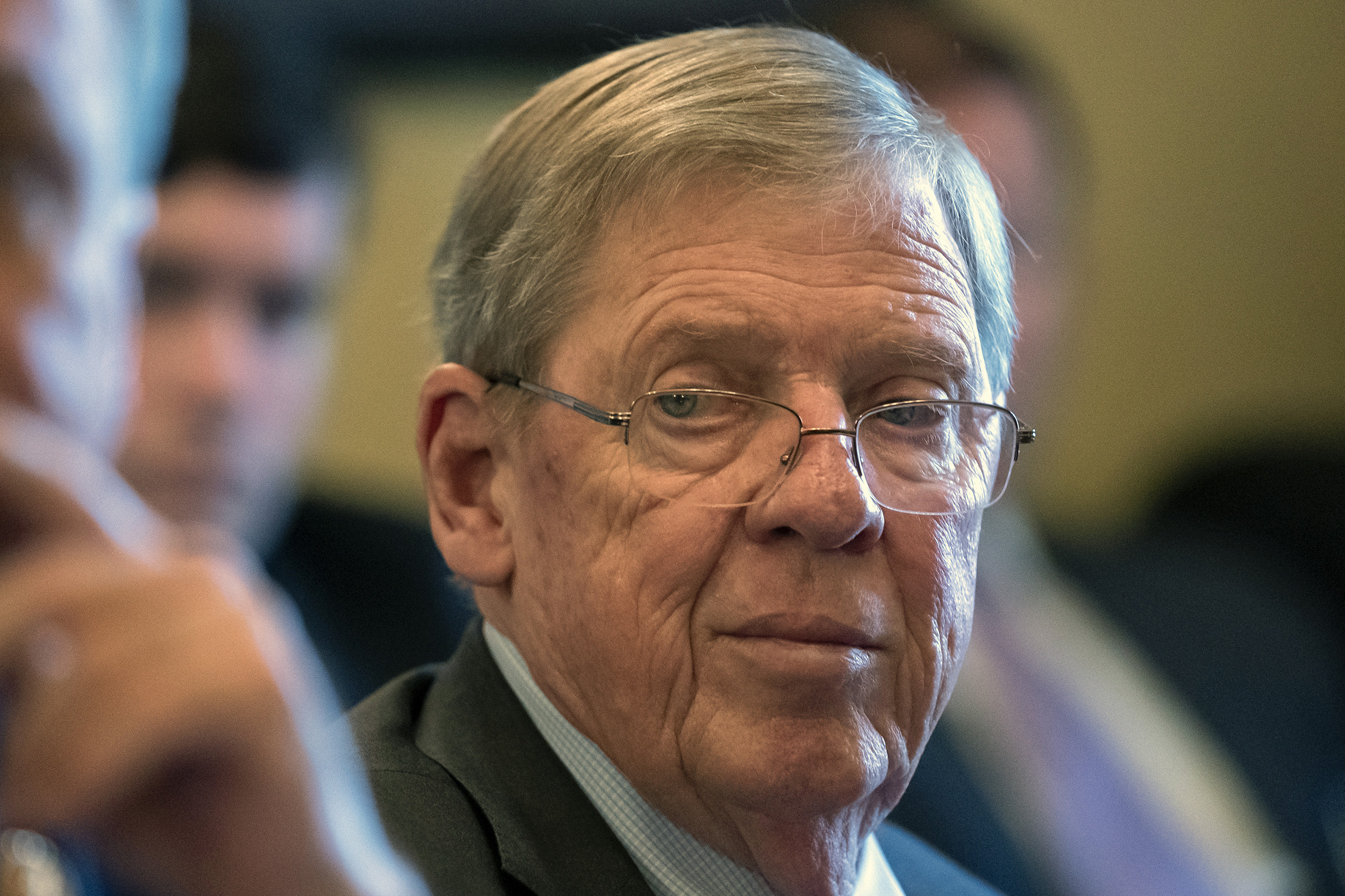 Johnny Isakson announced he is retiring from the U.S. Senate in December 2019, citing declining health.                    The Georgia Republican is pictured leading a meeting on Capitol Hill in Washington on Feb.14, 2019.