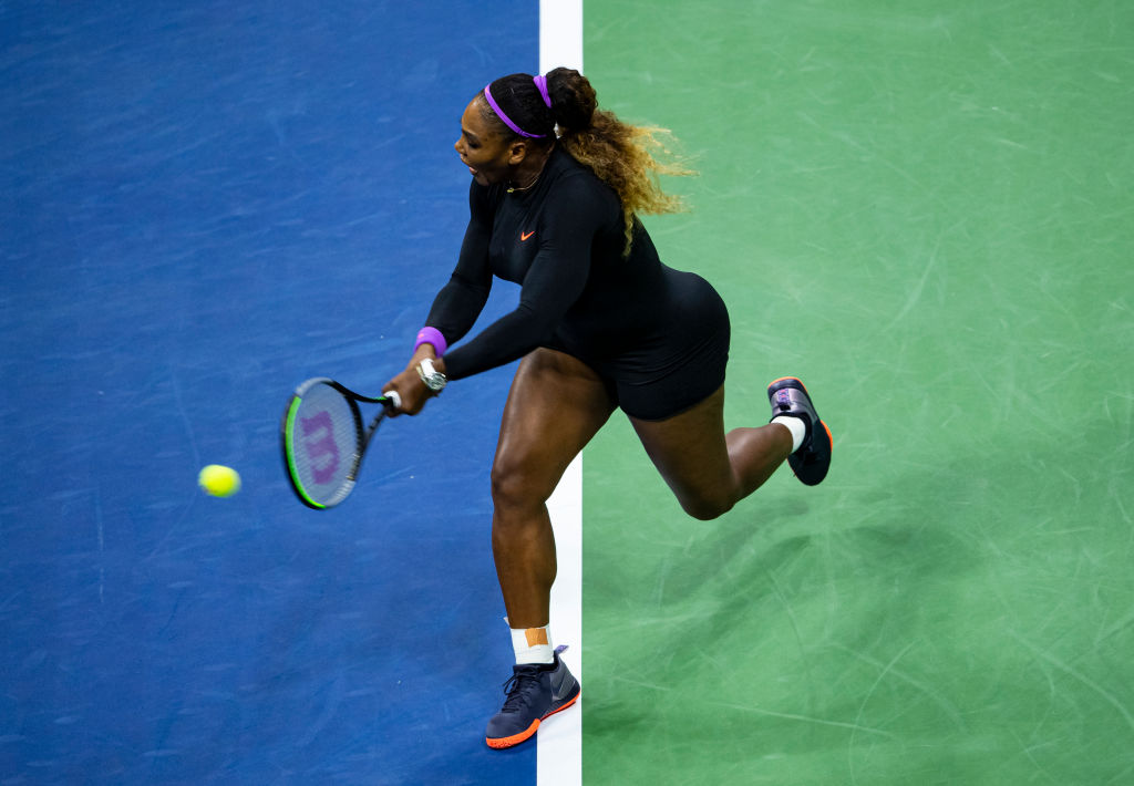 Serena Williams hits a backhand against Qiang Wang of China at Arthur Ashe Stadium at the USTA Billie Jean King National Tennis Center on Sept. 03, 2019.