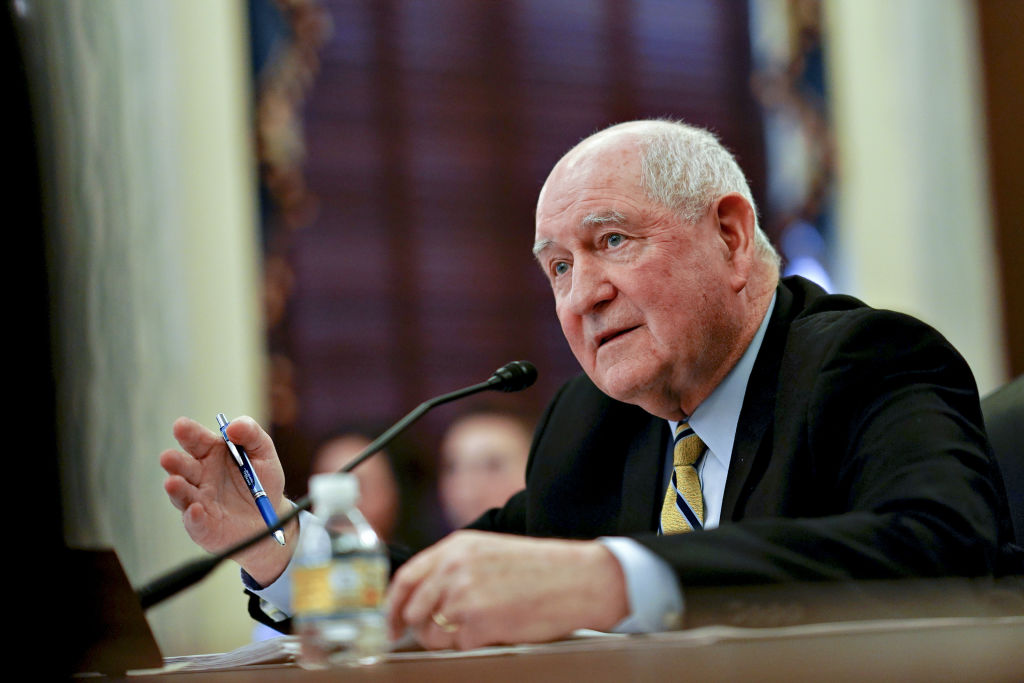 Sonny Perdue, U.S. secretary of agriculture, speaks during a Senate Agriculture, Nutrition and Forestry Committee hearing in Washington, D.C., U.S., on Thursday, Feb. 28, 2019. Perdue faced Wisconsin farmers, displeased with the trade war, on Wednesday.
