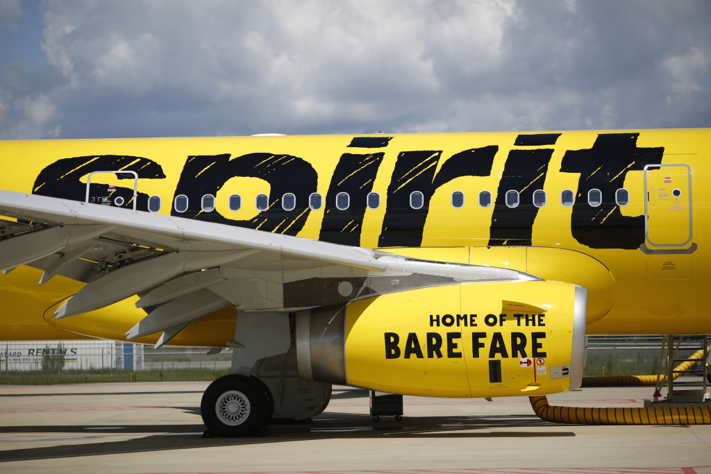 An Airbus SE A321 plane with a livery for Spirit Airlines Inc. is seen at the Airbus Final Assembly Line facility in Mobile, Alabama, U.S., on Wednesday, July 19, 2017.