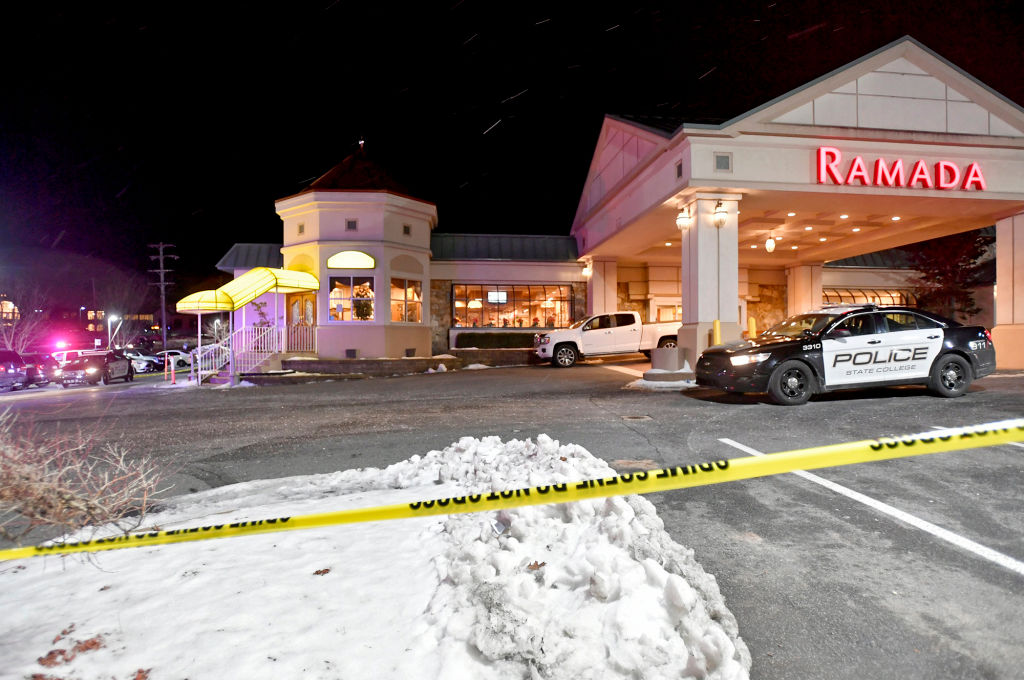 Police respond to a shooting at P.J. Harrigan's in State College, Pa., on January 24, 2019.