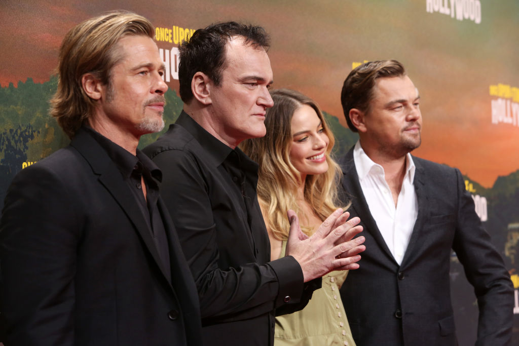 Brad Pitt, Quentin Tarantino, Margot Robbie and Leonardo DiCaprio (from left to right) at the German premiere of  Once Upon A Time... In Hollywood  at CineStar  in Berlin, on Aug. 01, 2019.