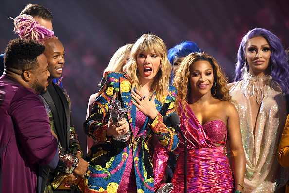 Taylor Swift receives award onstage during the 2019 MTV Video Music Awards at Prudential Center in Newark, New Jersey  on August 26, 2019.