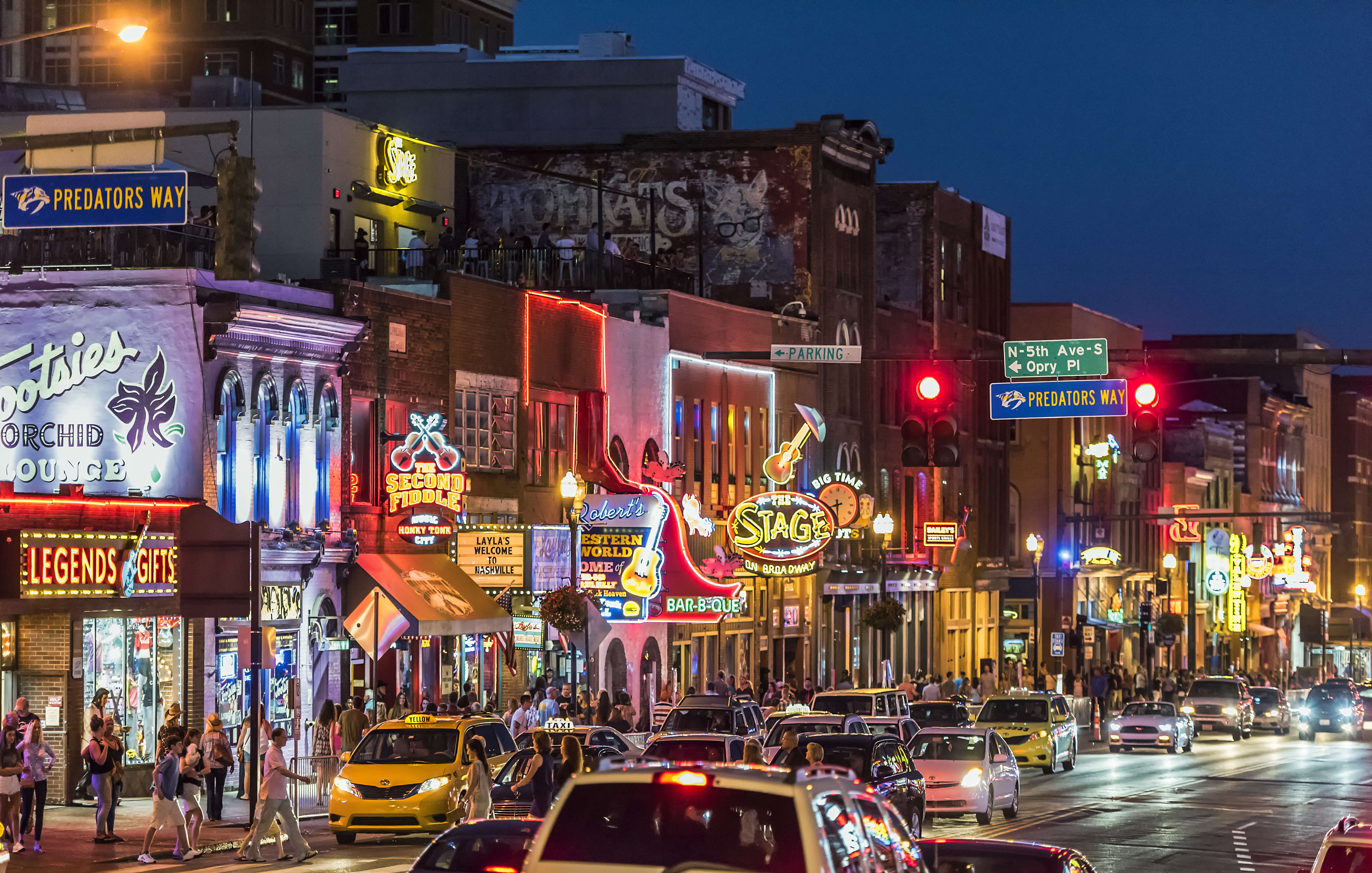 Country Music bars on Broadway in Nashville.