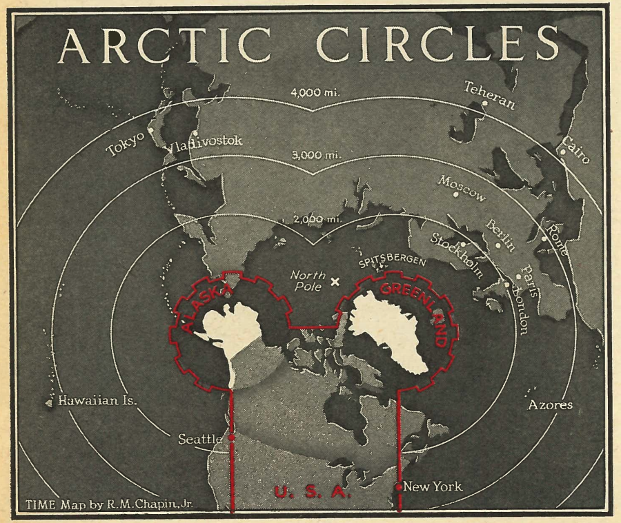 A map from the Jan. 27, 1947 issue of TIME, illustrating the strategic advantage to the U.S. of acquiring Greenland