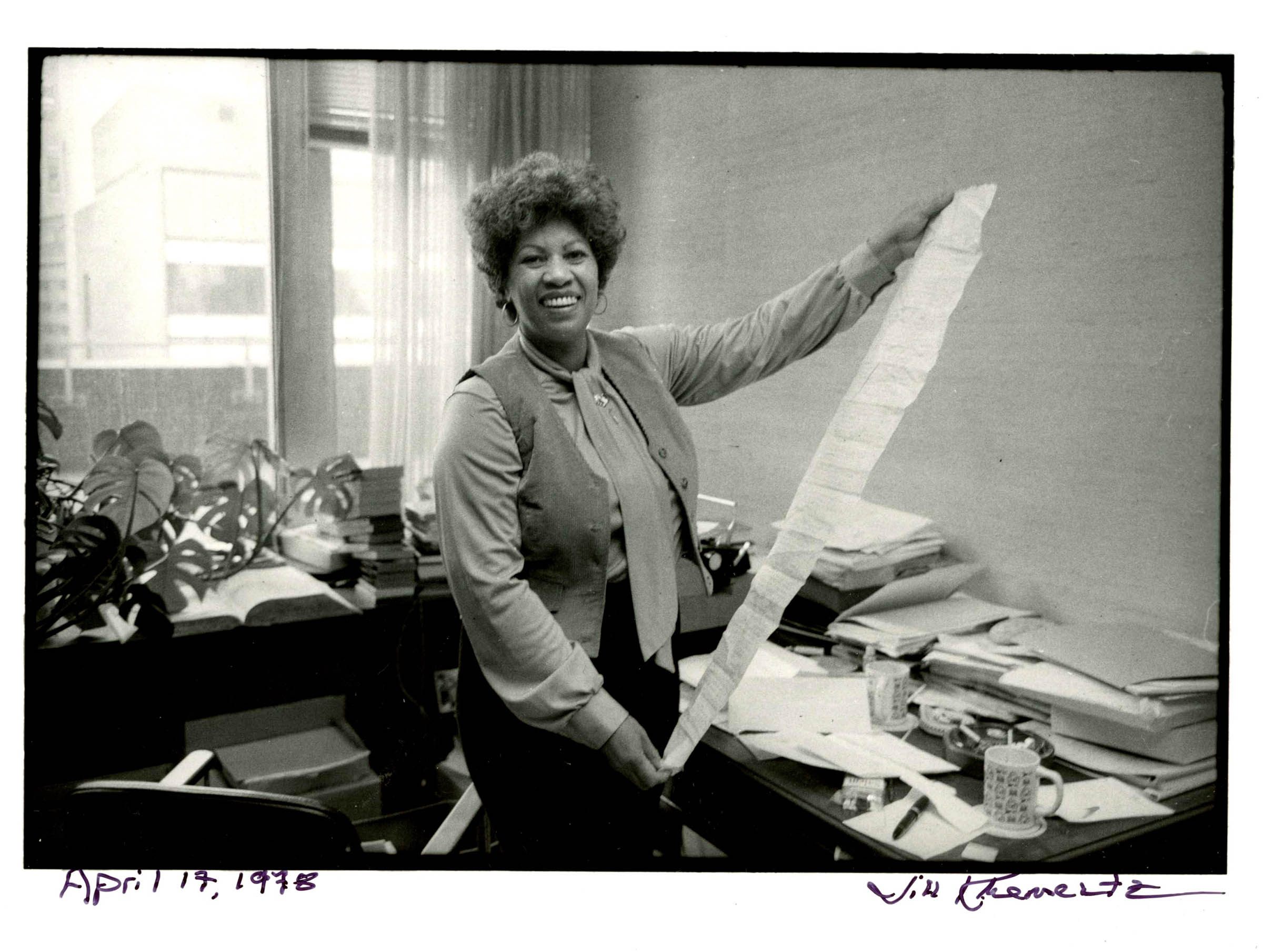 Morrison, in her office at Random House where she worked as an editor, on April 14, 1978.