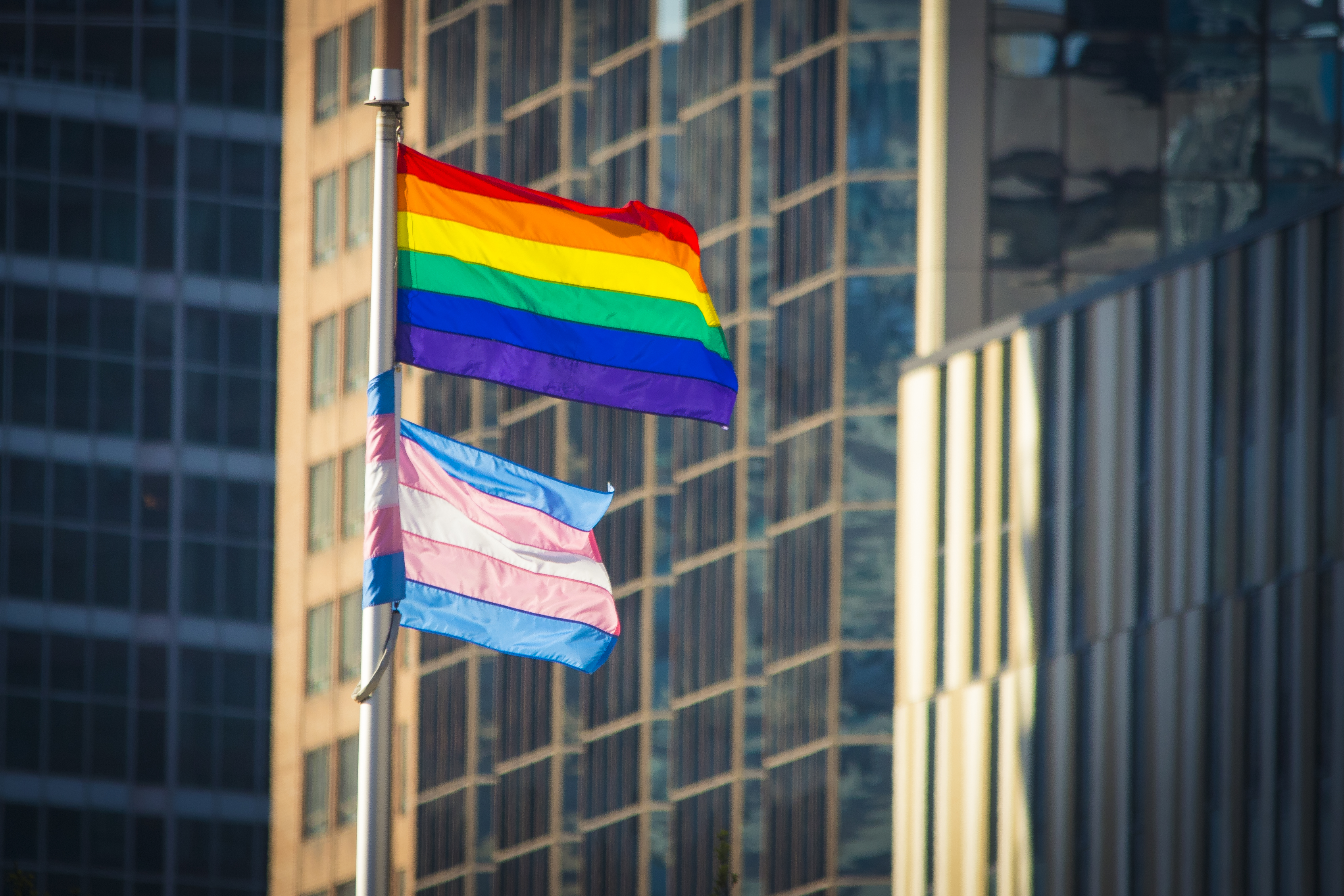 Pride and Trans Flag waving in the wind in a downtown urban setting.  Office buildings can be seen behind.