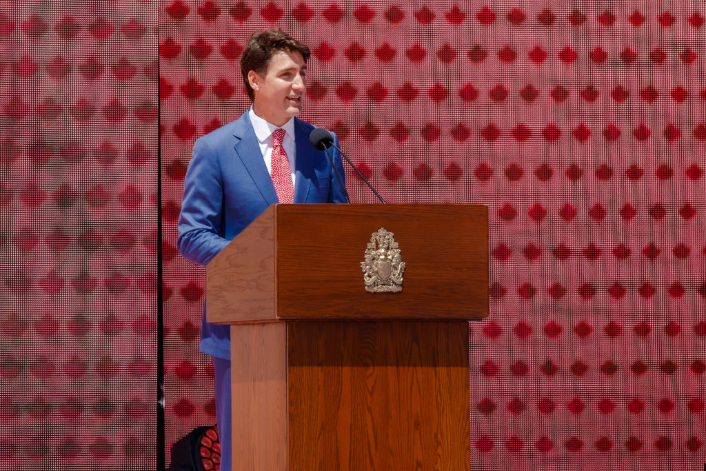 Canadian Prime Minister Justin Trudeau delivers remarks during Canada Day ceremonies at Parliament Hill on July 01, 2019 in Ottawa, Canada.