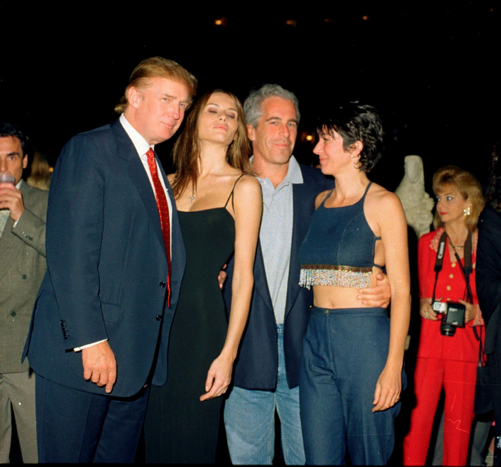 Donald Trump, Melania Knauss, Jeffrey Epstein and British socialite Ghislaine Maxwell pose together at the Mar-a-Lago club in Palm Beach, Florida on February 12, 2000.