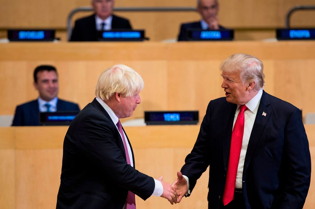 Boris Johnson, then British foreign secretary, meets President Trump at U.N. headquarters in New York on September 18, 2017.