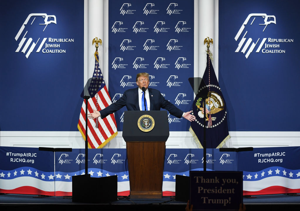 U.S. President Donald Trump speaks during the Republican Jewish Coalition's annual leadership meeting at The Venetian Las Vegas on April 6, 2019 in Las Vegas, Nevada. Trump has cited his moving of the U.S. embassy in Israel to Jerusalem and his decision to pull the U.S. out of the Iran nuclear deal as reasons for Jewish voters to leave the Democratic party and support him and the GOP instead.