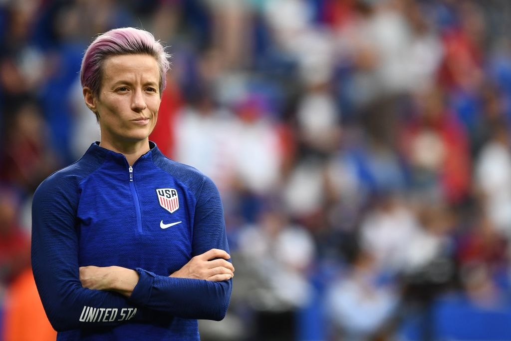 United States' forward Megan Rapinoe looks on during warm up prior to the  France 2019 Women's World Cup semi-final football match between England and USA, on July 2, 2019, at the Lyon Satdium in Decines-Charpieu, central-eastern France.