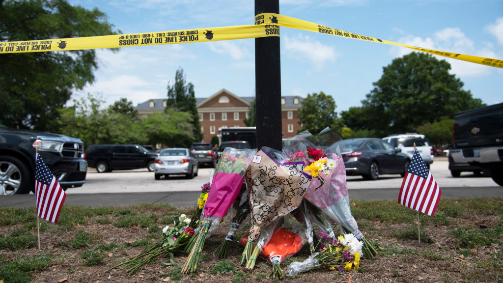 People from the community pay their respects to the victims of a deadly shooting at a Virginia Beach public works building, which claimed the lives of 12 people in Virginia Beach, Virginia on June 01, 2019.