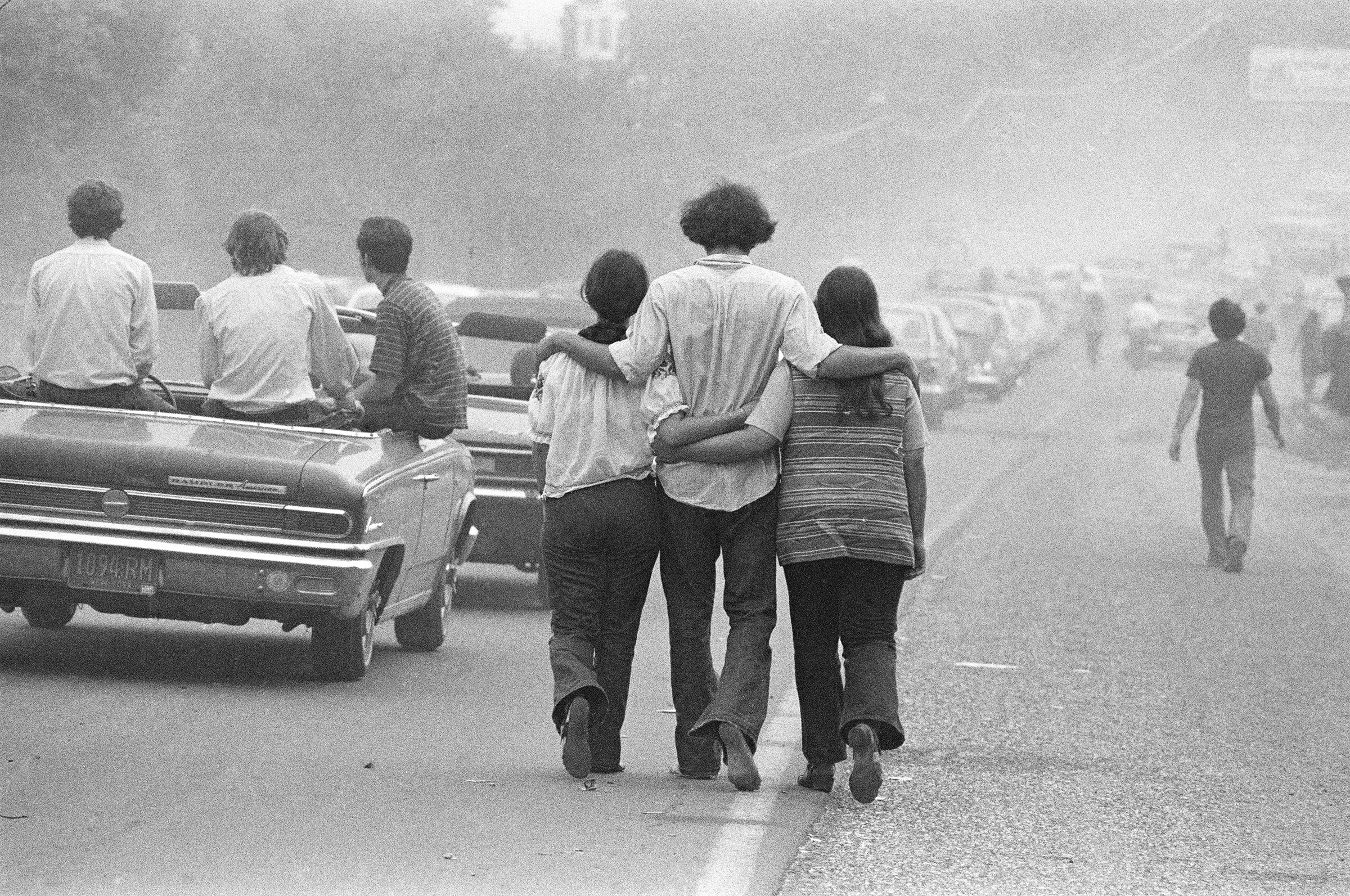 Festival goers on their way to Woodstock, in August 1969.