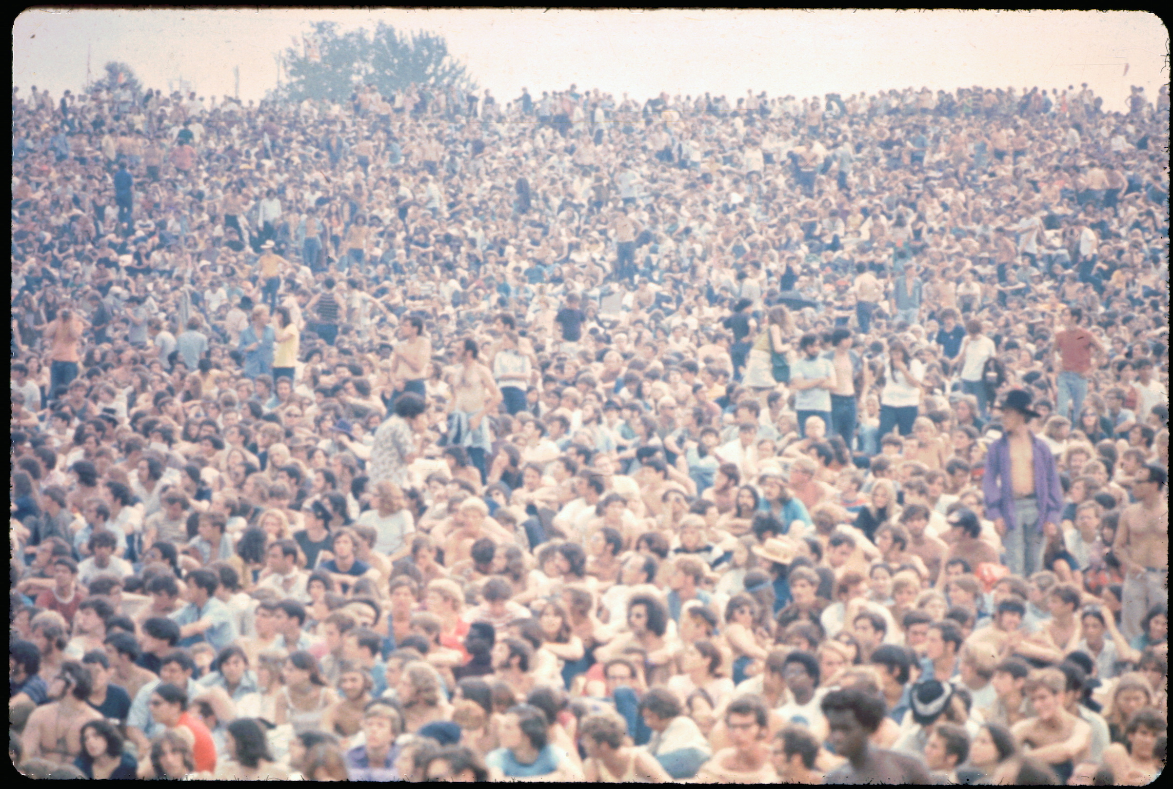 Woodstock crowd seen from the main stage, 1969