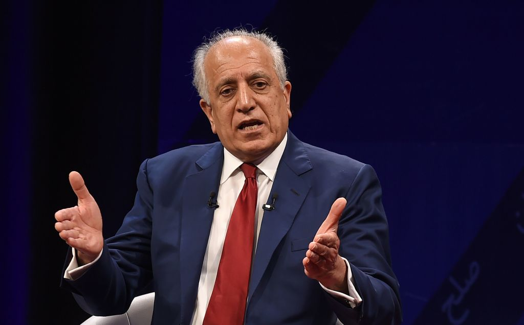 U.S. special representative for Afghan peace and reconciliation Zalmay Khalilzad speaks during a forum talk with Afghan director of TOLO news Lotfullah Najafizada, at the Tolo TV station in Kabul on April 28, 2019